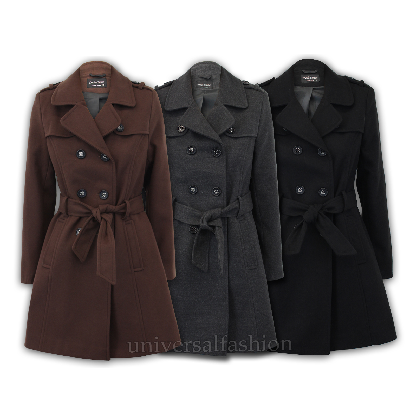 Ladies Trench Military Coat Jacket Wool Tweed Double Womens Charcoal Winter Wol9049 Breasted Look rrAx1
