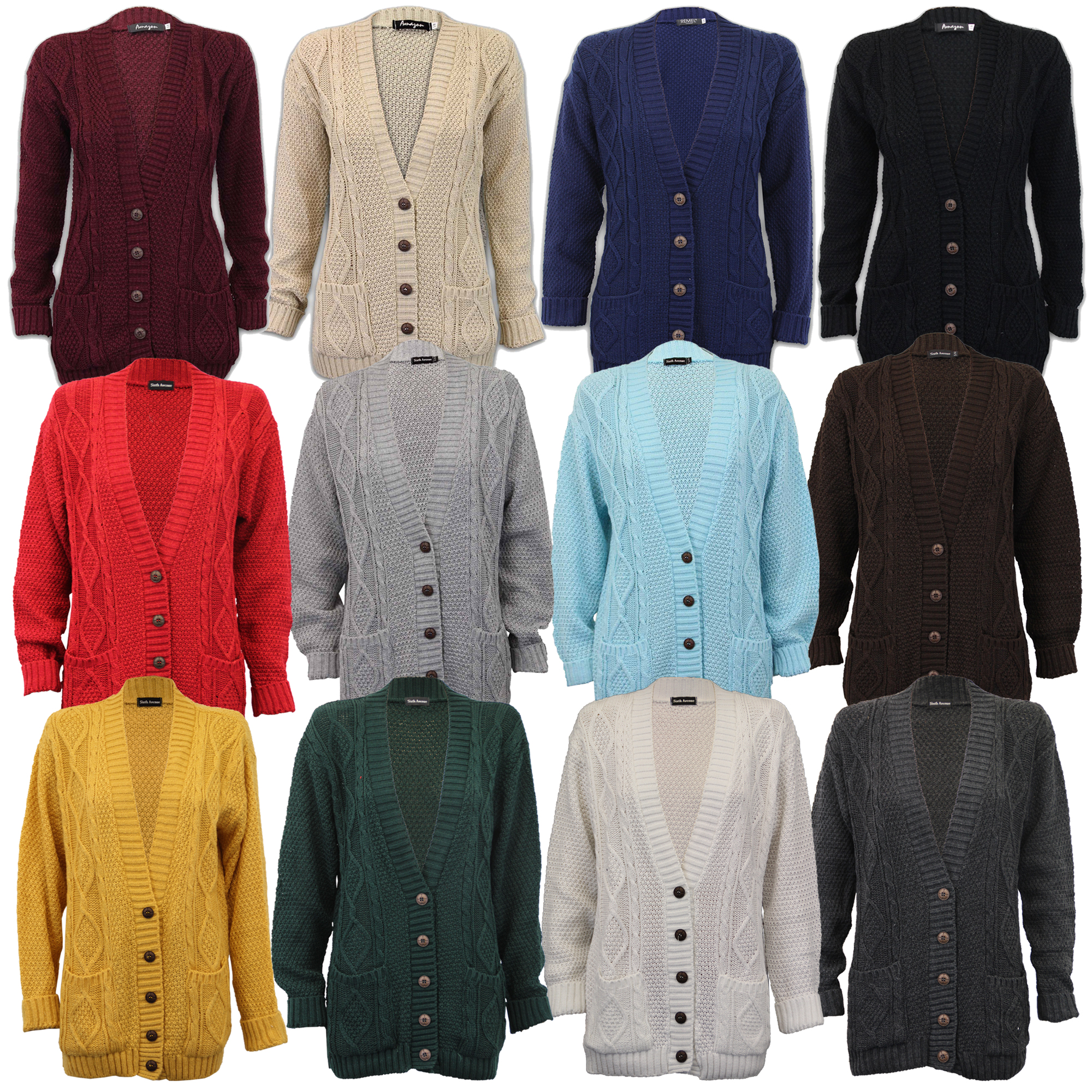 Ladies Cardigans Womens Knitted Jumper Cable Jacquard Boyfriend Chunky Winter...