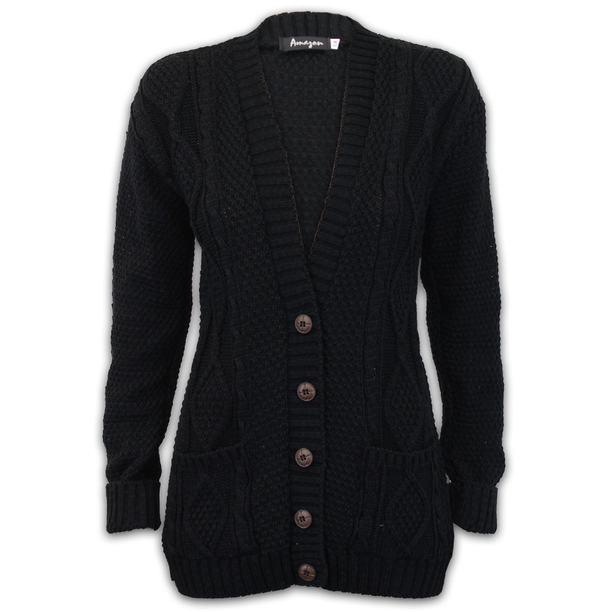 0fd96ee00e281 Ladies Cable Knitted Womens Jacquard BOYFRIEND Chunky Cardigan ...