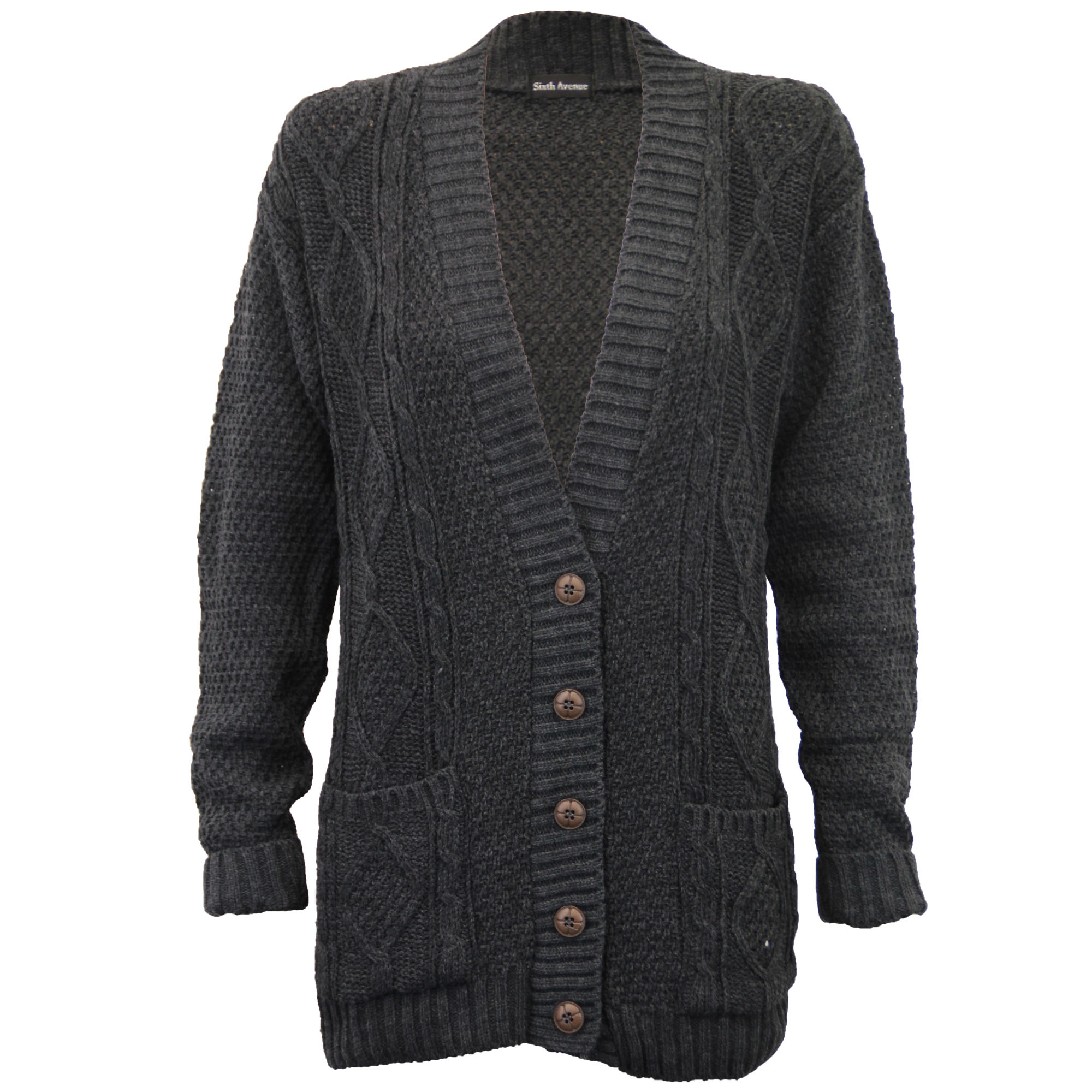 Ladies Cardigans Womens Knitted Jumper Cable Jacquard Boyfriend ... 9adaa555d