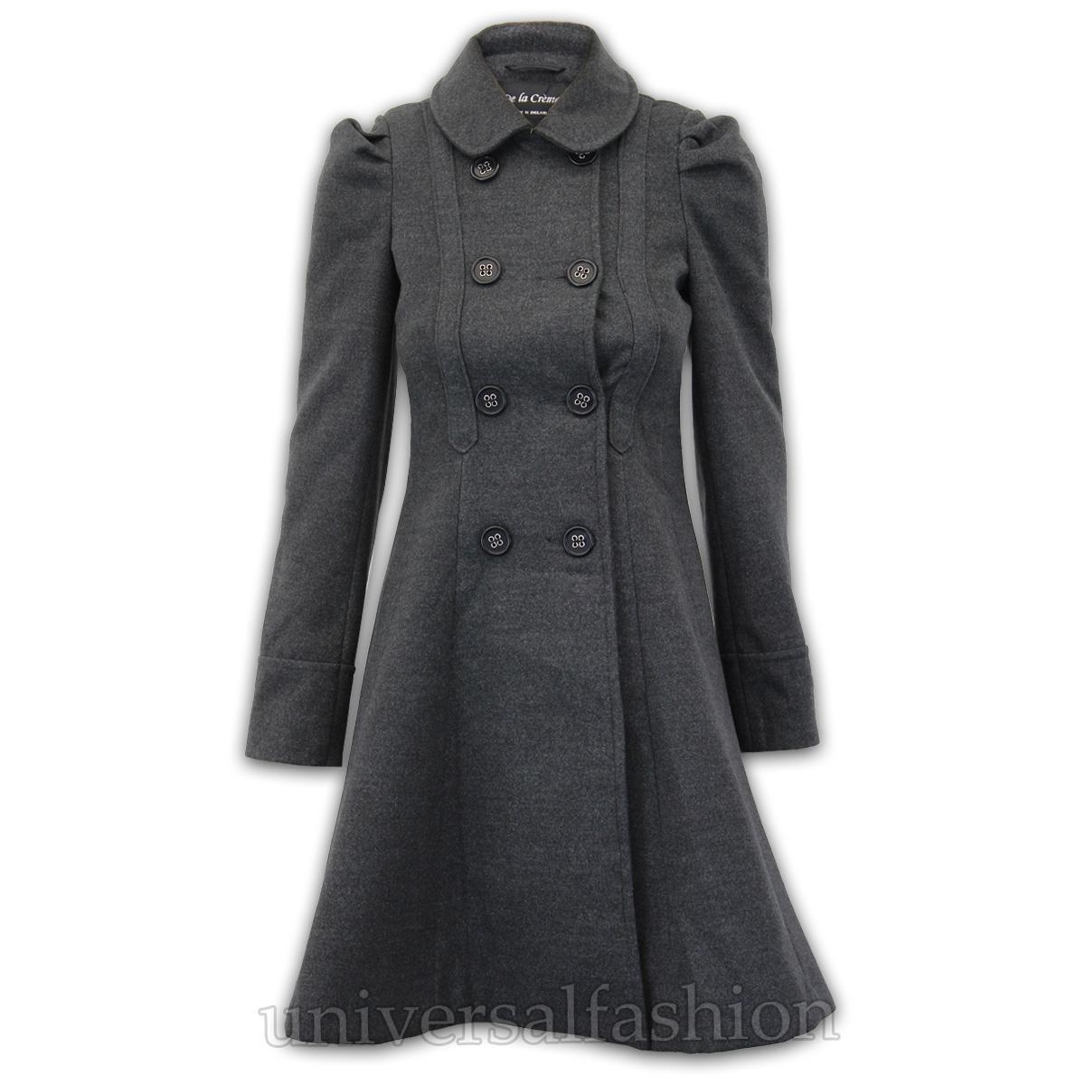 Ladies Coat Womens Wool Look Office Double Breasted ...