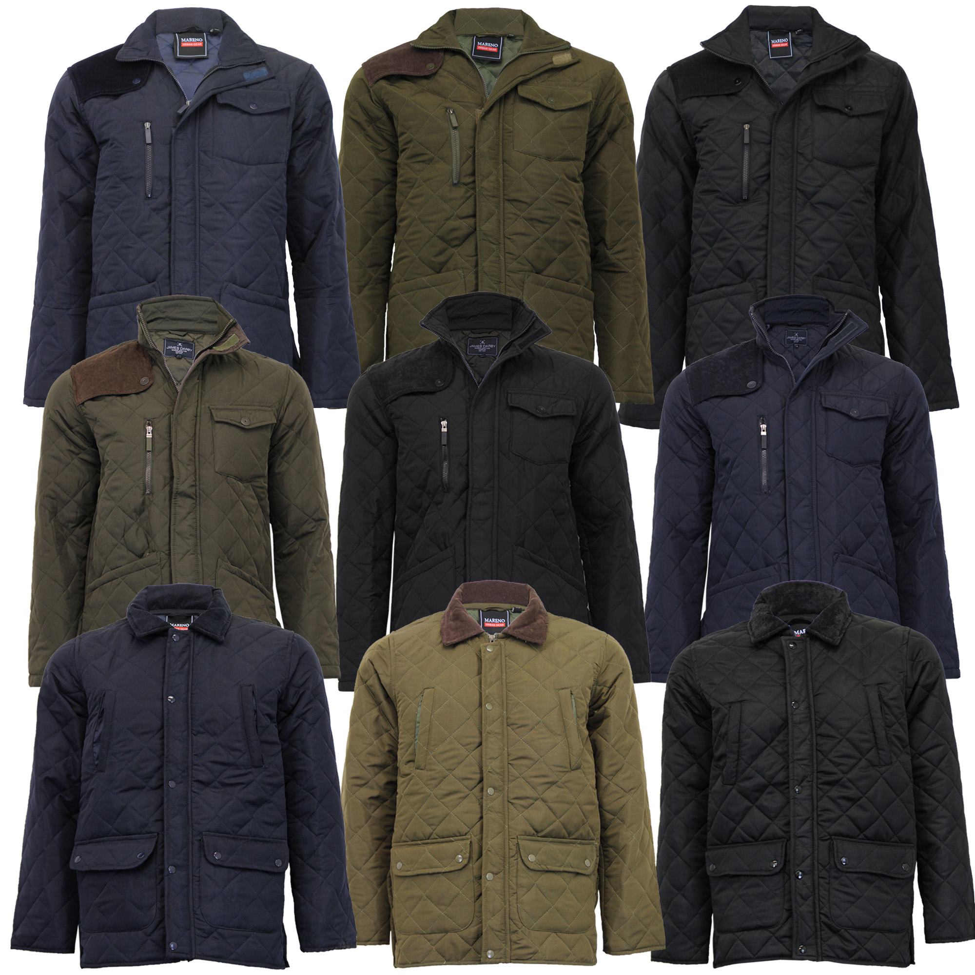 Mens Mareno Jacket Soul Star Coat Padded Quilted Corduroy