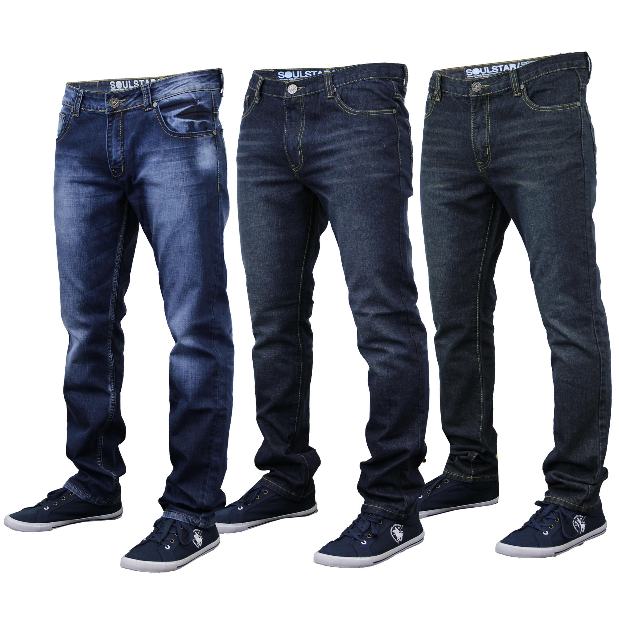 eccb9a0bff Mens Jeans Soul Star Denim Straight Fit Trousers Fashion Faded Dark ...
