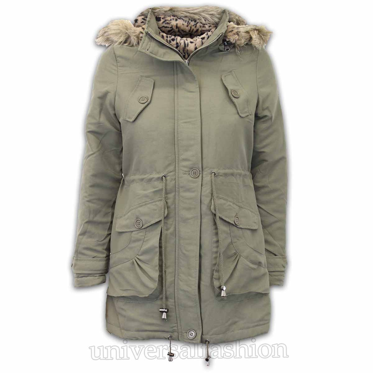 Details about Ladies Jacket Brave Soul Womens Parka Coat Hooded Military Fur Padded Winter New