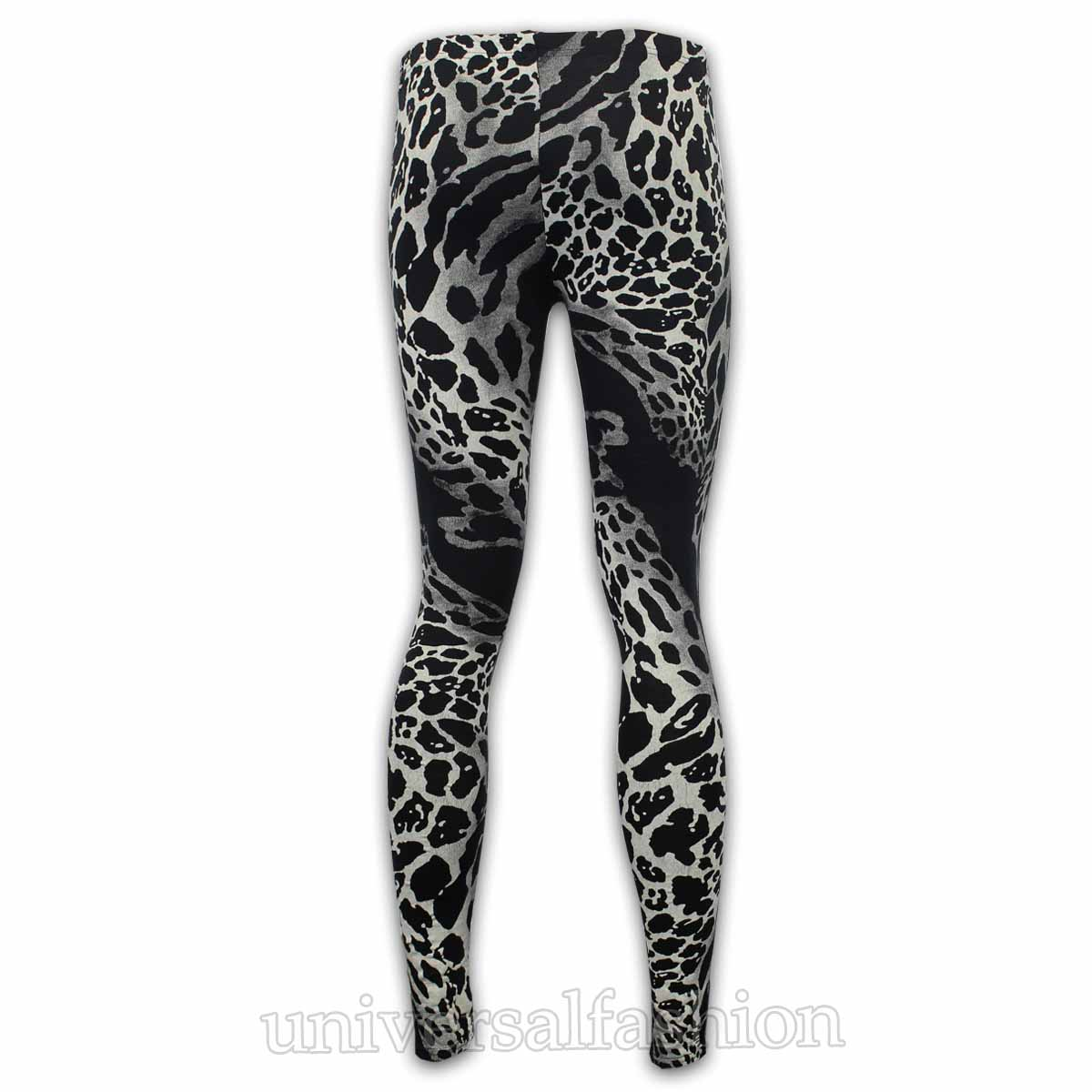 Ladies Leggings Womens Leopard Camo Aztec Checked Silver Foil Stretch New