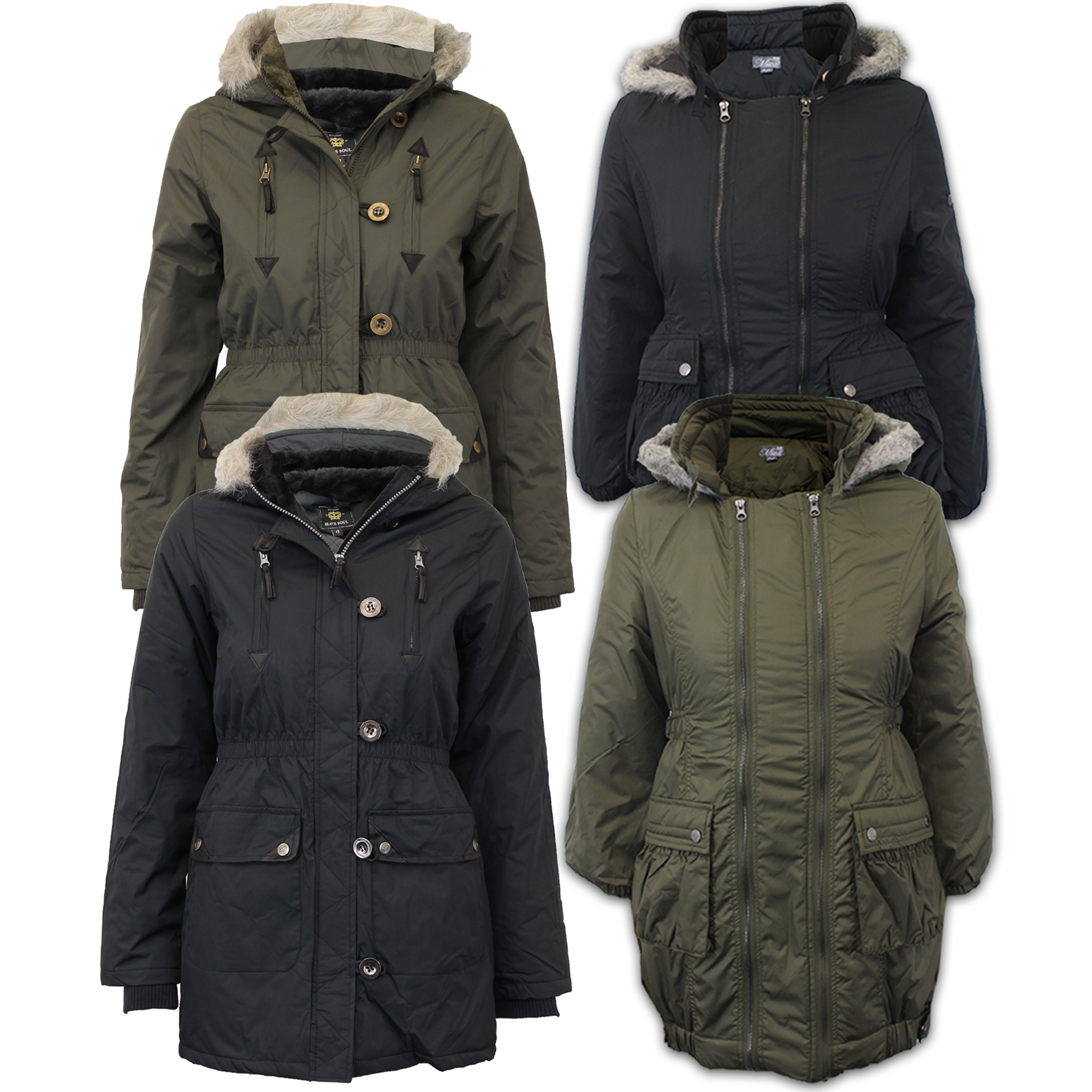 bc153ac96 Girls Jacket Brave Soul Kids Parka School Coat Hooded Military Fur ...