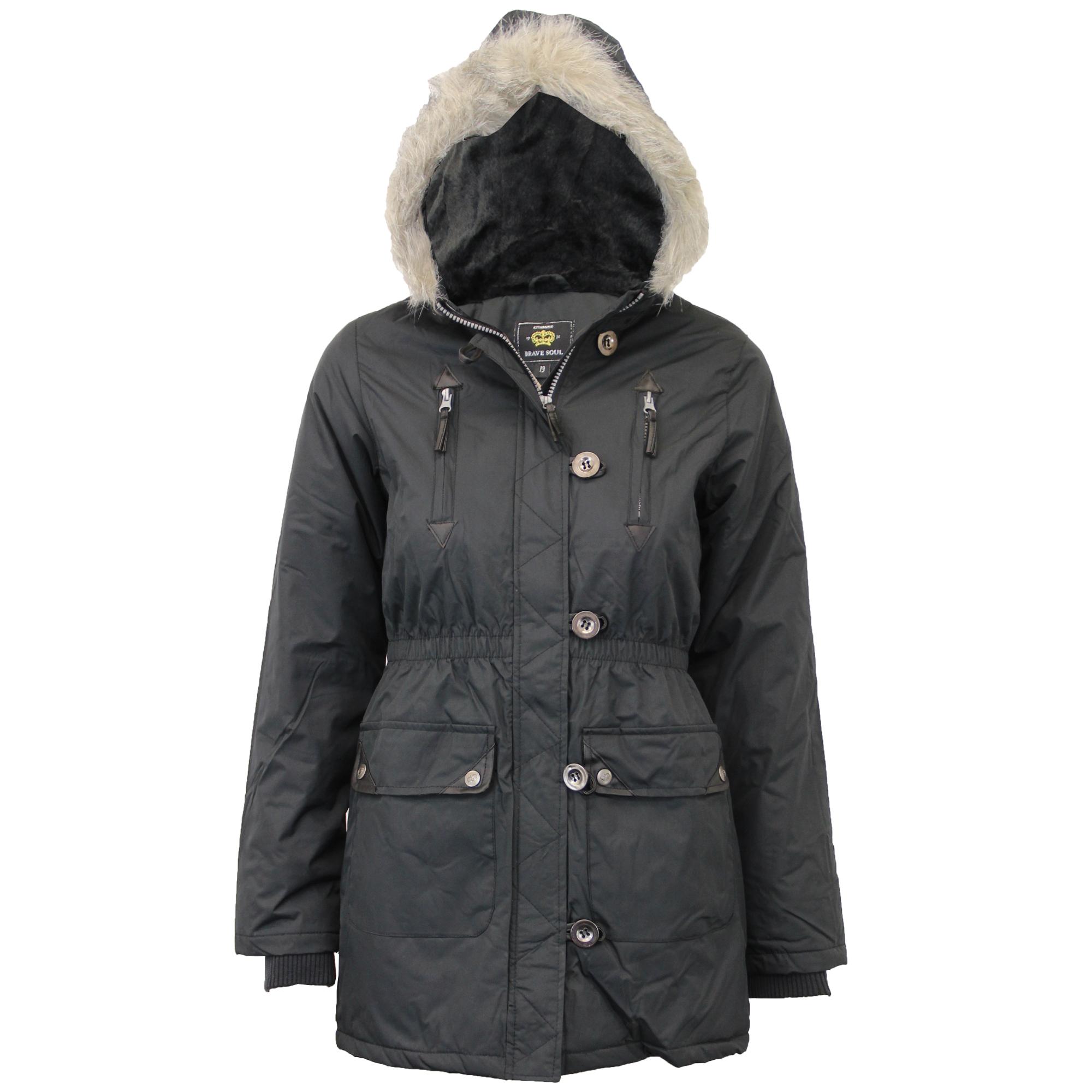 Girls Jacket Brave Soul Kids Parka School Coat Hooded ...