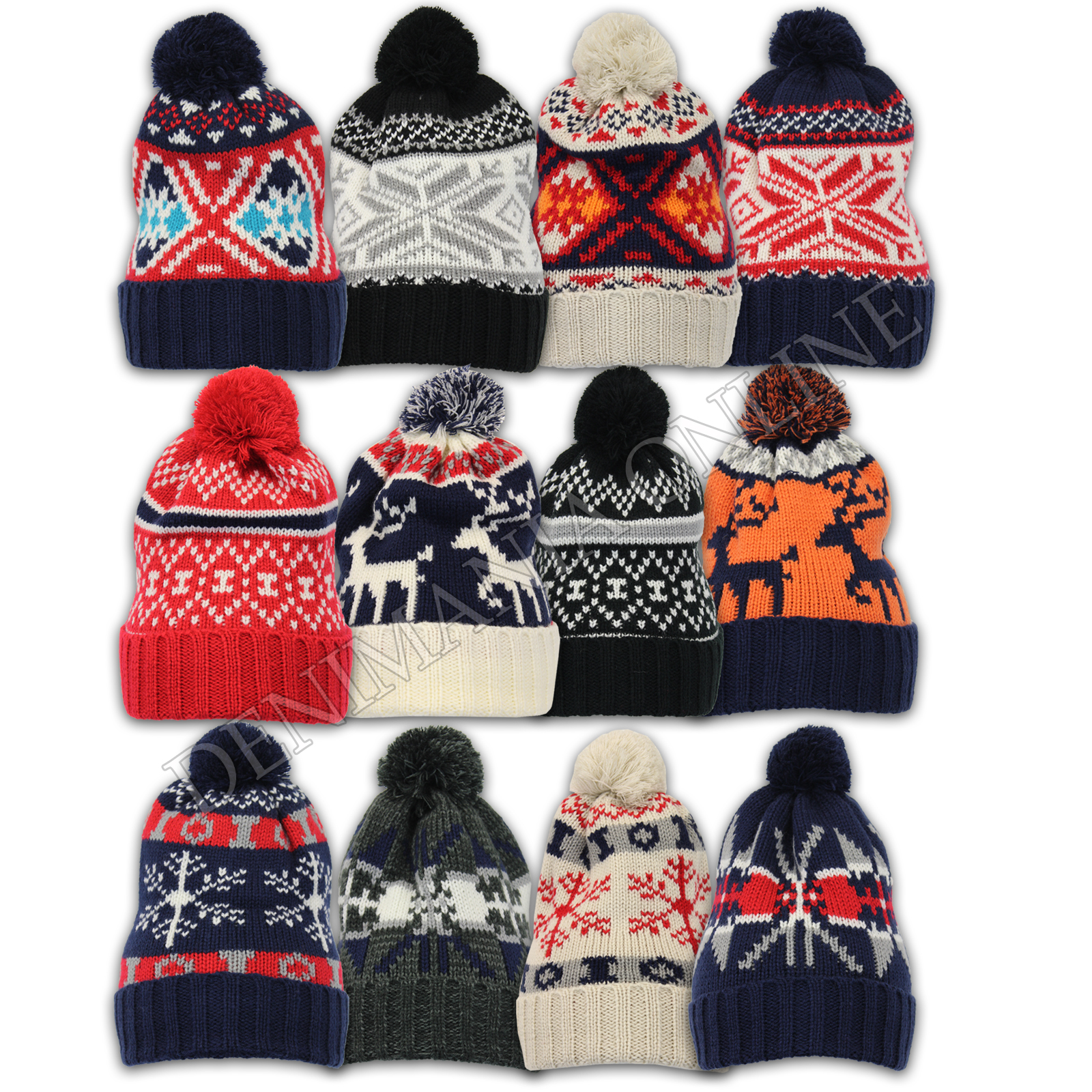 69321ddddfa514 Details about mens Soul Star cable knitted bobble ladies winter reindeer pom  pom beanie hat