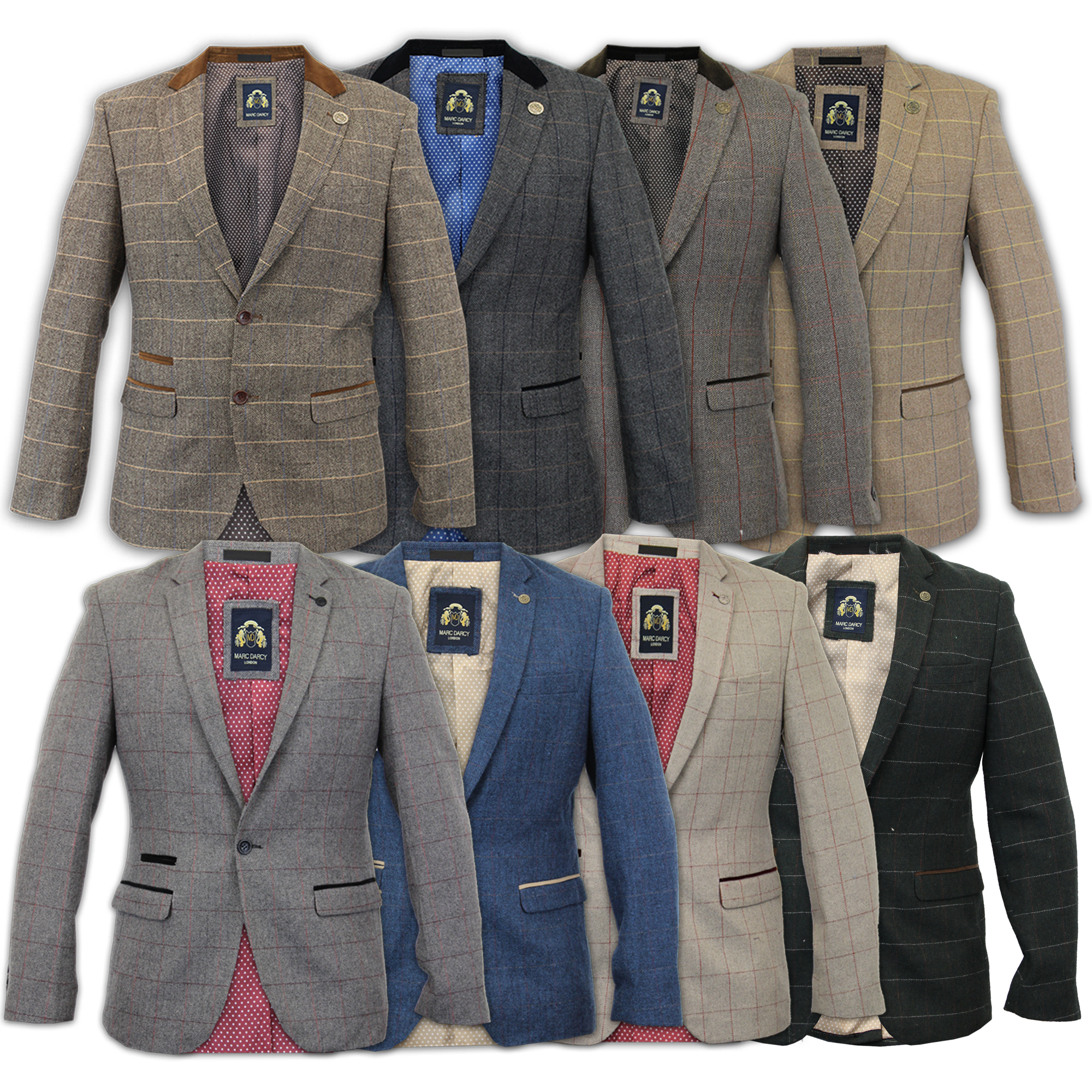 Mens-Blazer-Marc-Darcy-Wool-Look-Coat-Formal-Dinner-Check-Jacket-Patch-Lined-New thumbnail 4