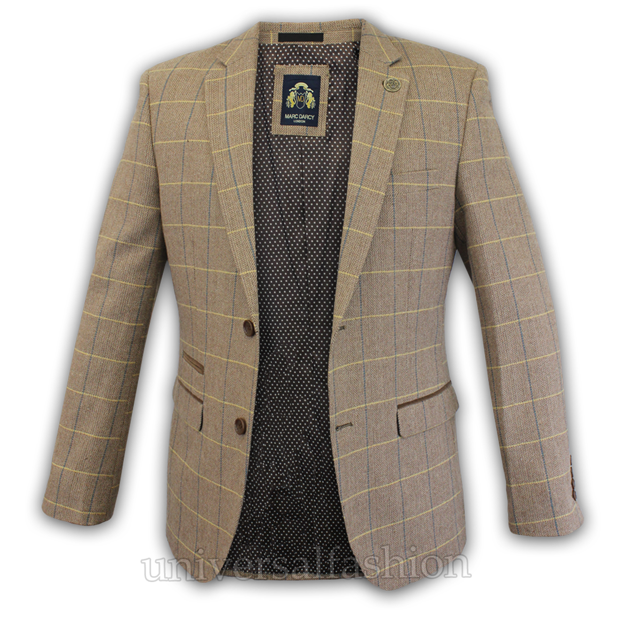 Mens-Blazer-Marc-Darcy-Wool-Look-Coat-Formal-Dinner-Check-Jacket-Patch-Lined-New thumbnail 7
