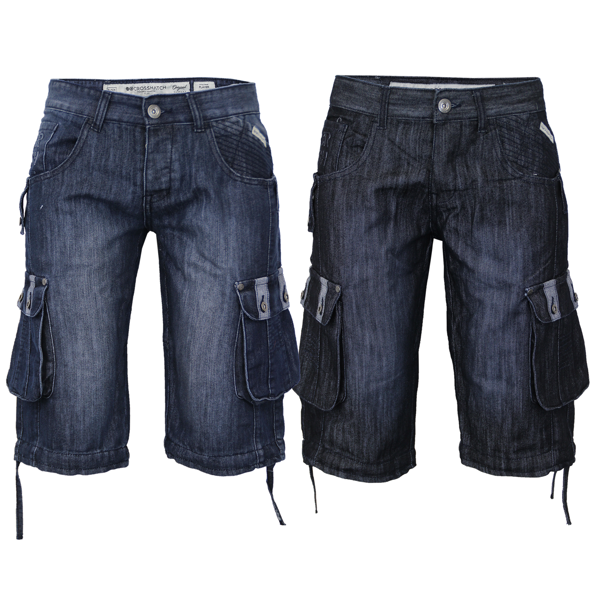 Mens-Denim-Knee-Length-Combat-Shorts-By-Crosshatch thumbnail 7