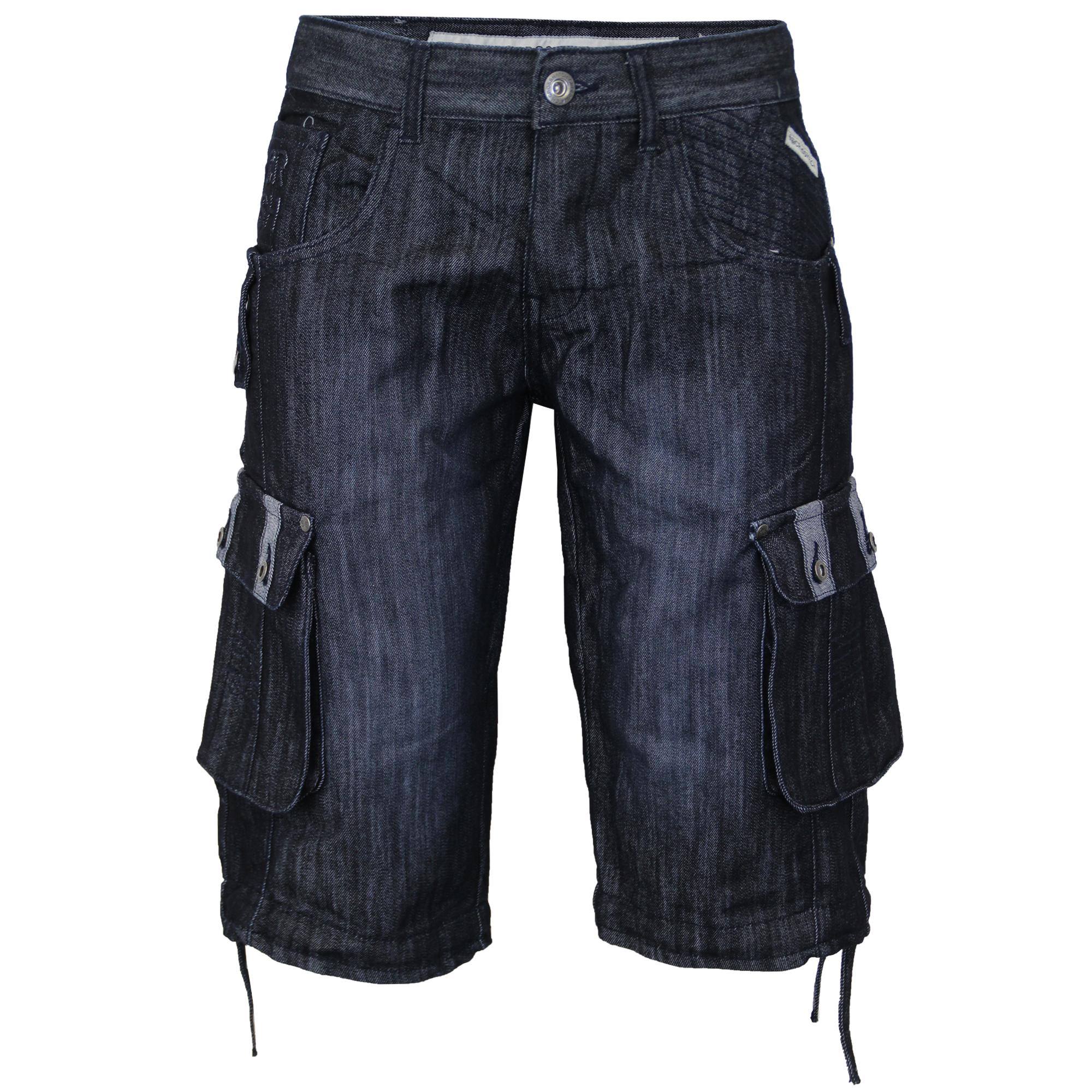 Mens-Denim-Knee-Length-Combat-Shorts-By-Crosshatch thumbnail 5