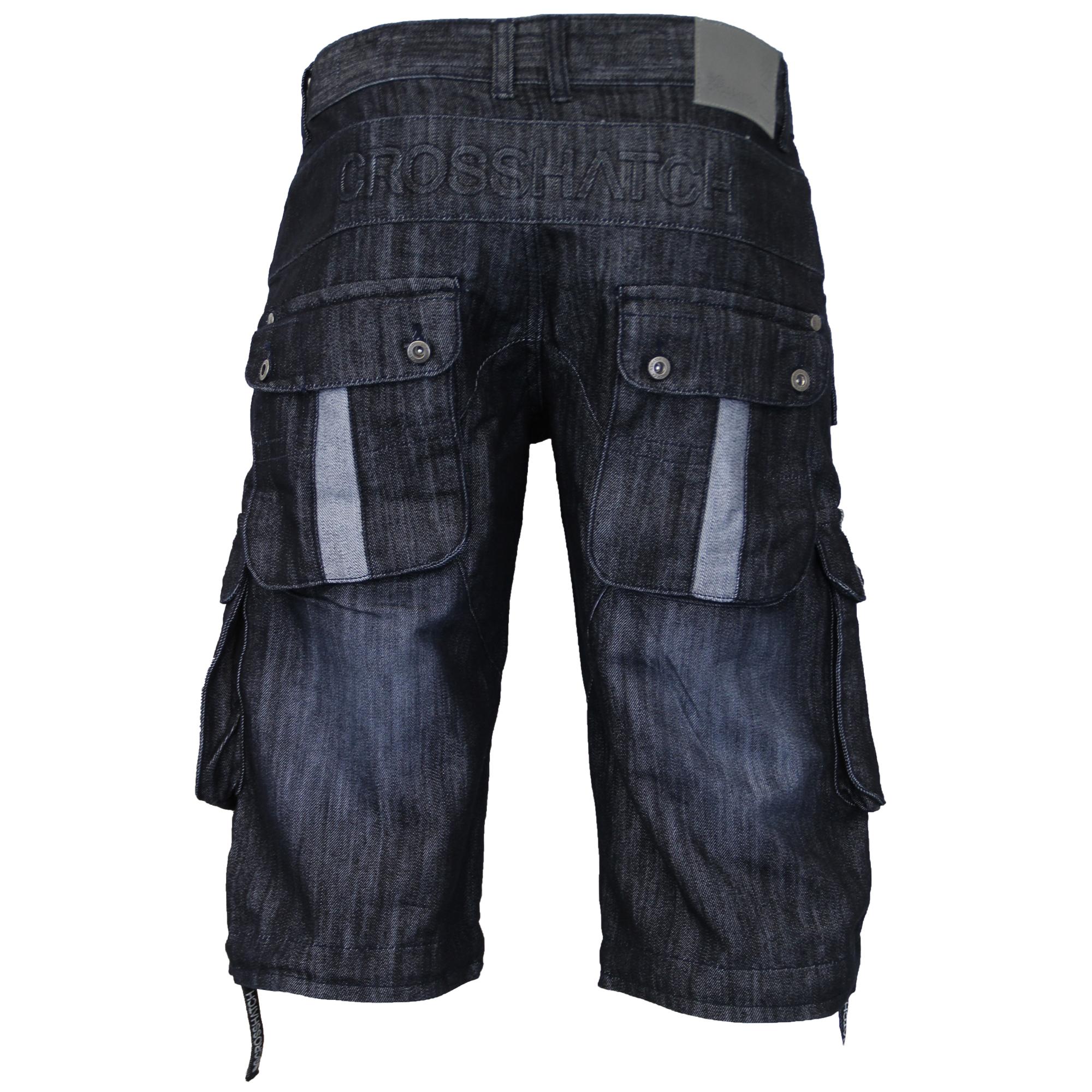 Mens-Denim-Knee-Length-Combat-Shorts-By-Crosshatch thumbnail 6