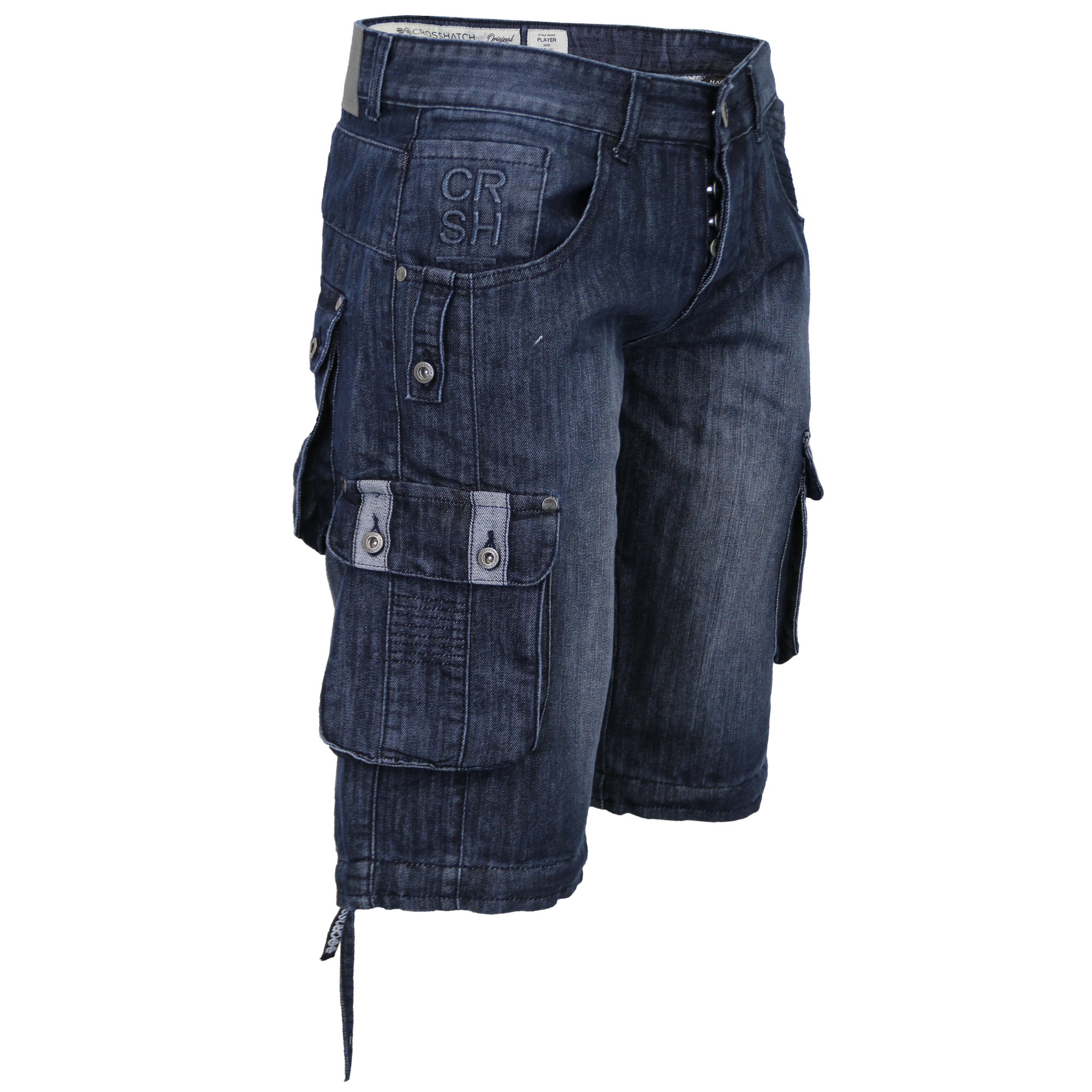 Mens-Denim-Knee-Length-Combat-Shorts-By-Crosshatch thumbnail 13