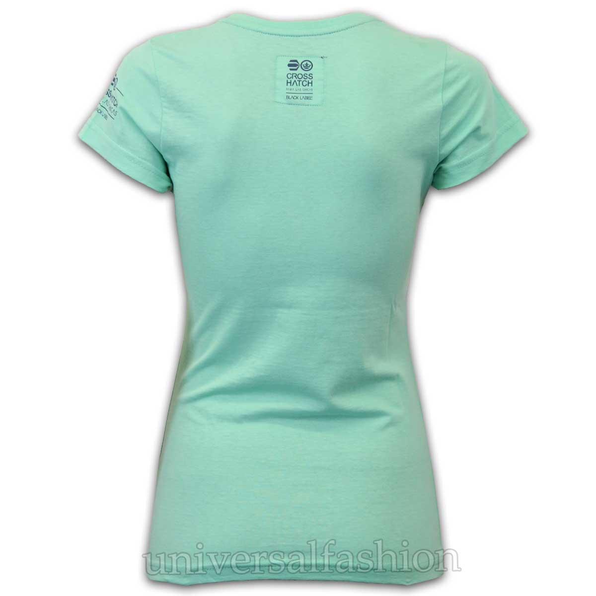 Ladies-T-Shirt-Crosshatch-Womens-Top-Crew-Neck-Print-Cap-Sleeved-Casual-Summer thumbnail 3