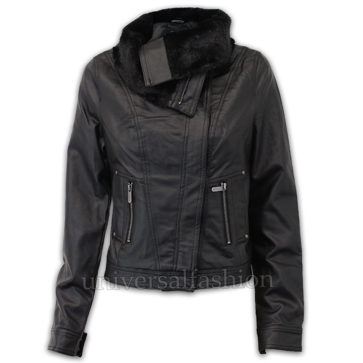 Ladies-Leather-Look-Biker-Jacket-Brave-Soul-Womens-Fur-Coat-Cropped-Lined-Casual