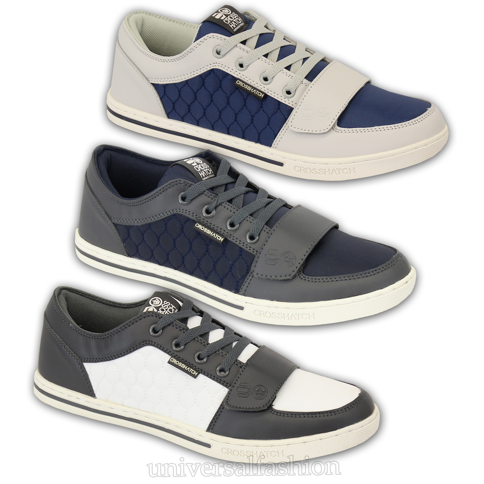 691608e19c66 Mens Trainers Crosshatch Sneakers Shoes Lace Up Quilted Running ...
