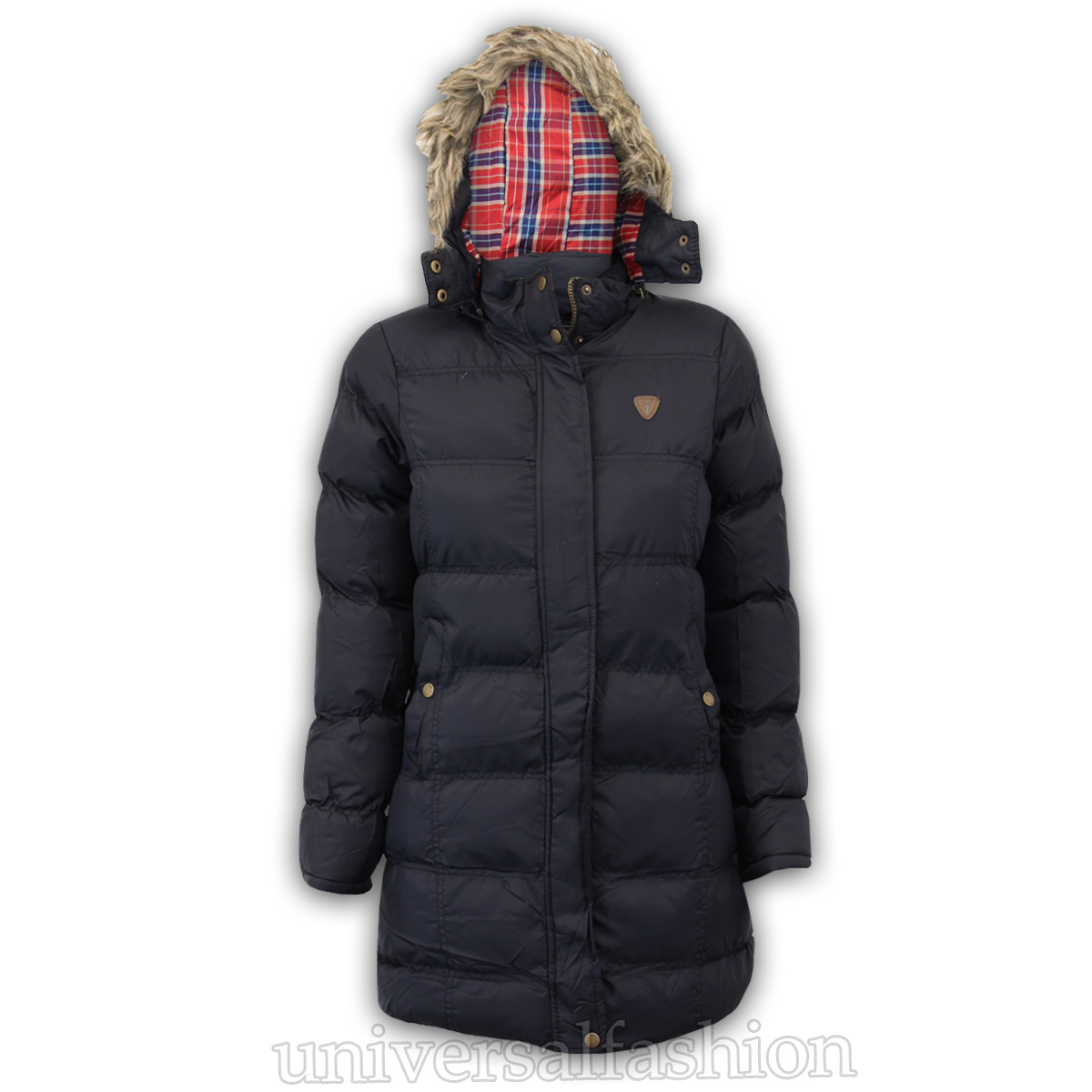 Girls Parka Jacket Brave Soul Kids Coat Hooded Padded Tartan Fur Lined Winter
