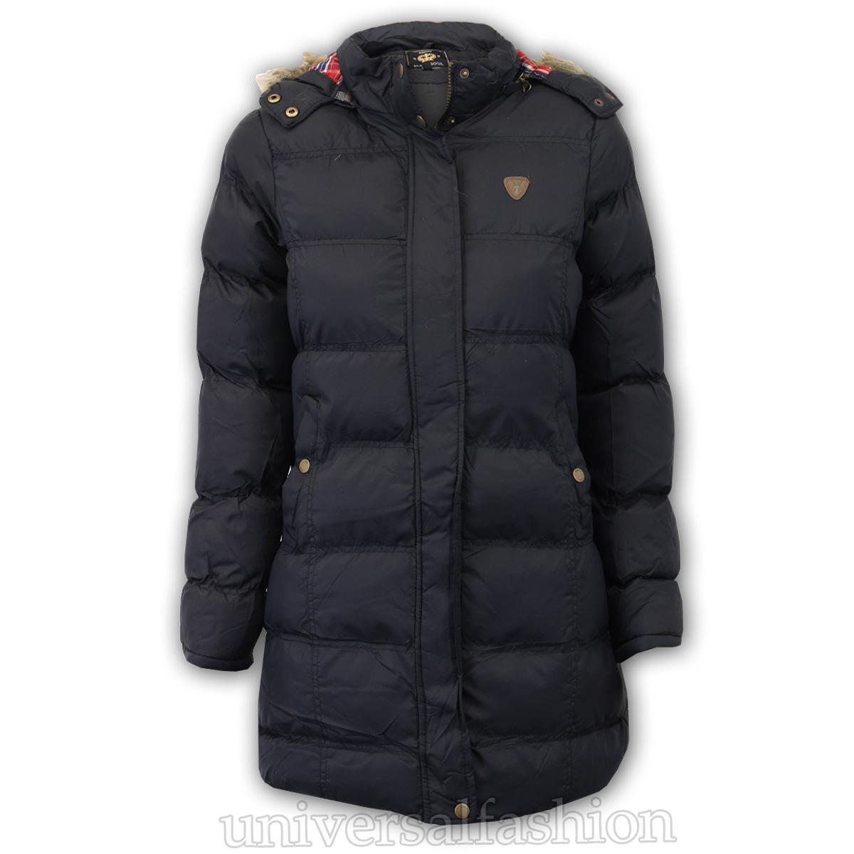 da3699d7c Girls Parka Jacket Brave Soul Kids Coat Hooded Padded Tartan Fur ...