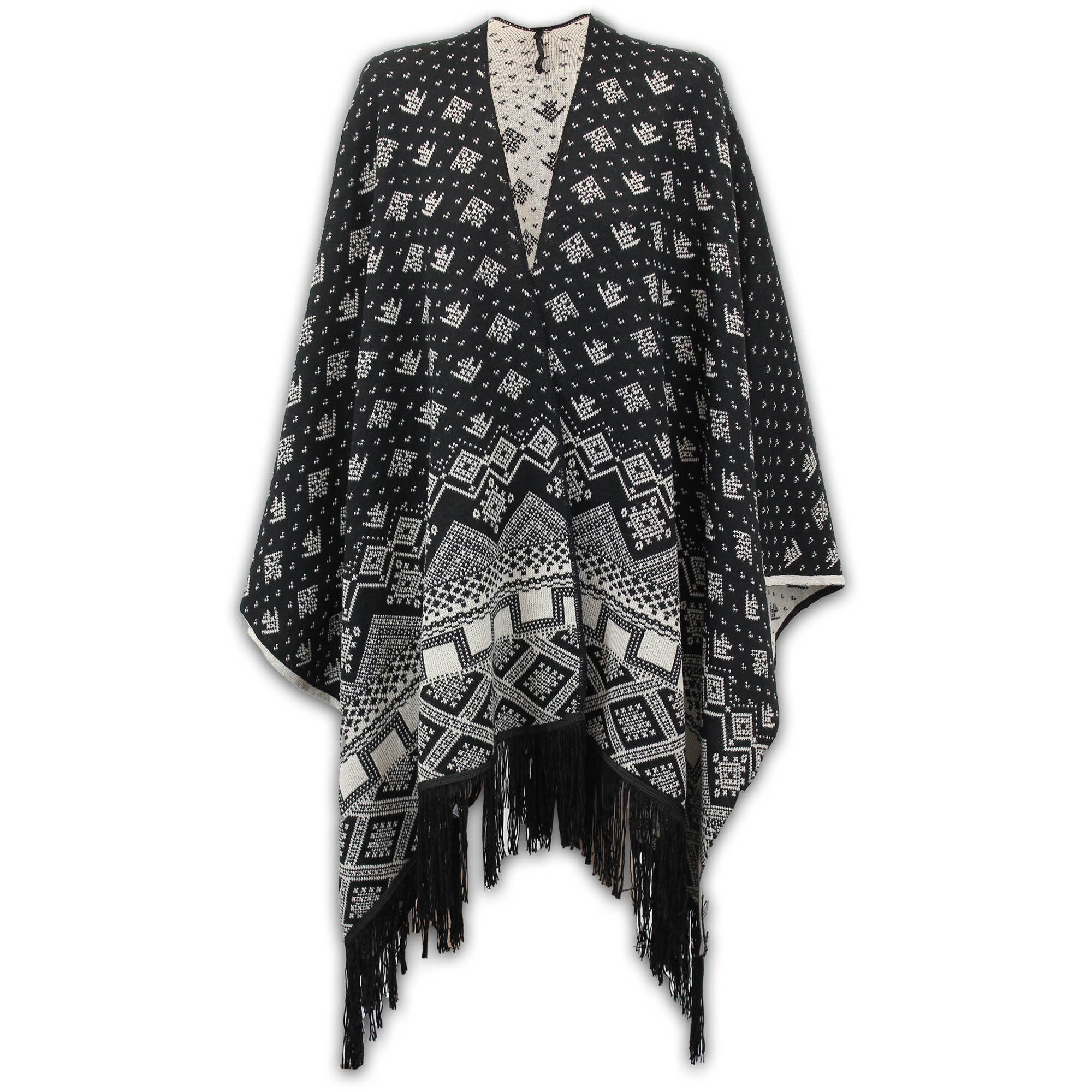 Ladies-Shawl-Womens-Knitted-Poncho-Cardigan-Reversible-Aztec-Cape-Oversized-New thumbnail 5