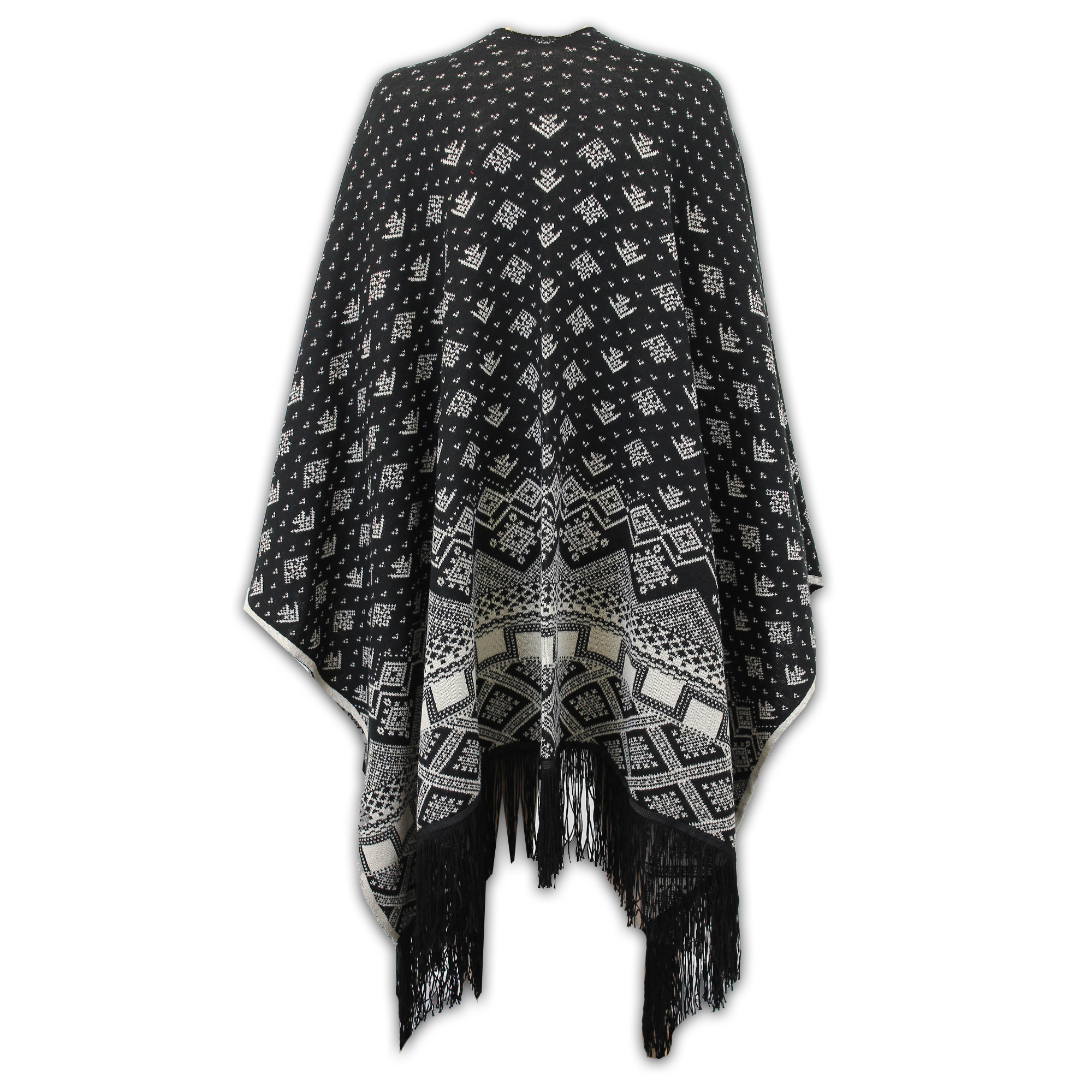 Ladies-Shawl-Womens-Knitted-Poncho-Cardigan-Reversible-Aztec-Cape-Oversized-New thumbnail 6