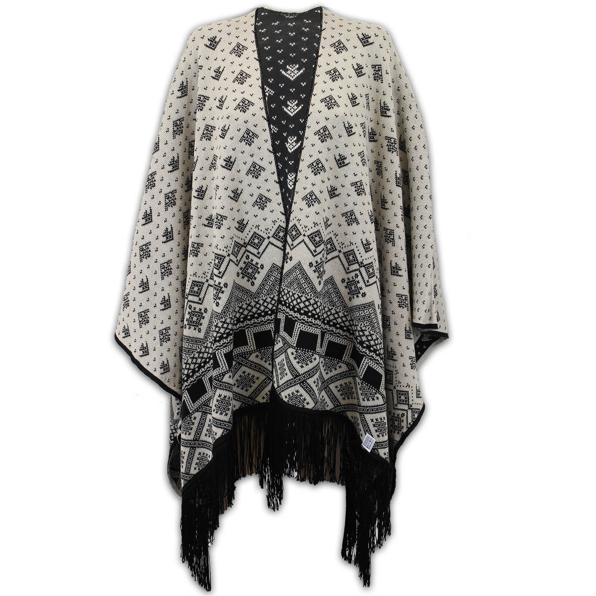 Ladies-Shawl-Womens-Knitted-Poncho-Cardigan-Reversible-Aztec-Cape-Oversized-New thumbnail 7
