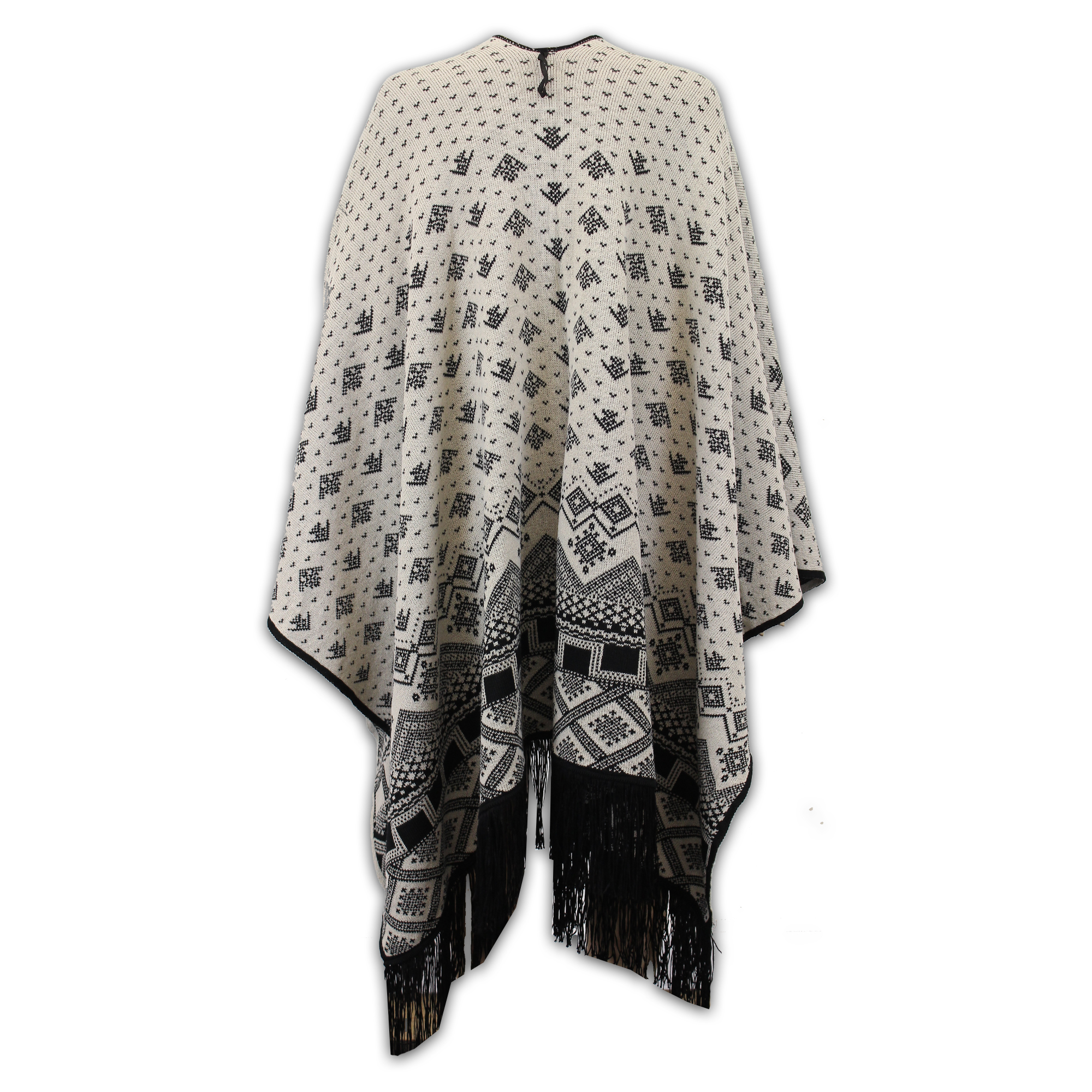 Ladies-Shawl-Womens-Knitted-Poncho-Cardigan-Reversible-Aztec-Cape-Oversized-New thumbnail 8