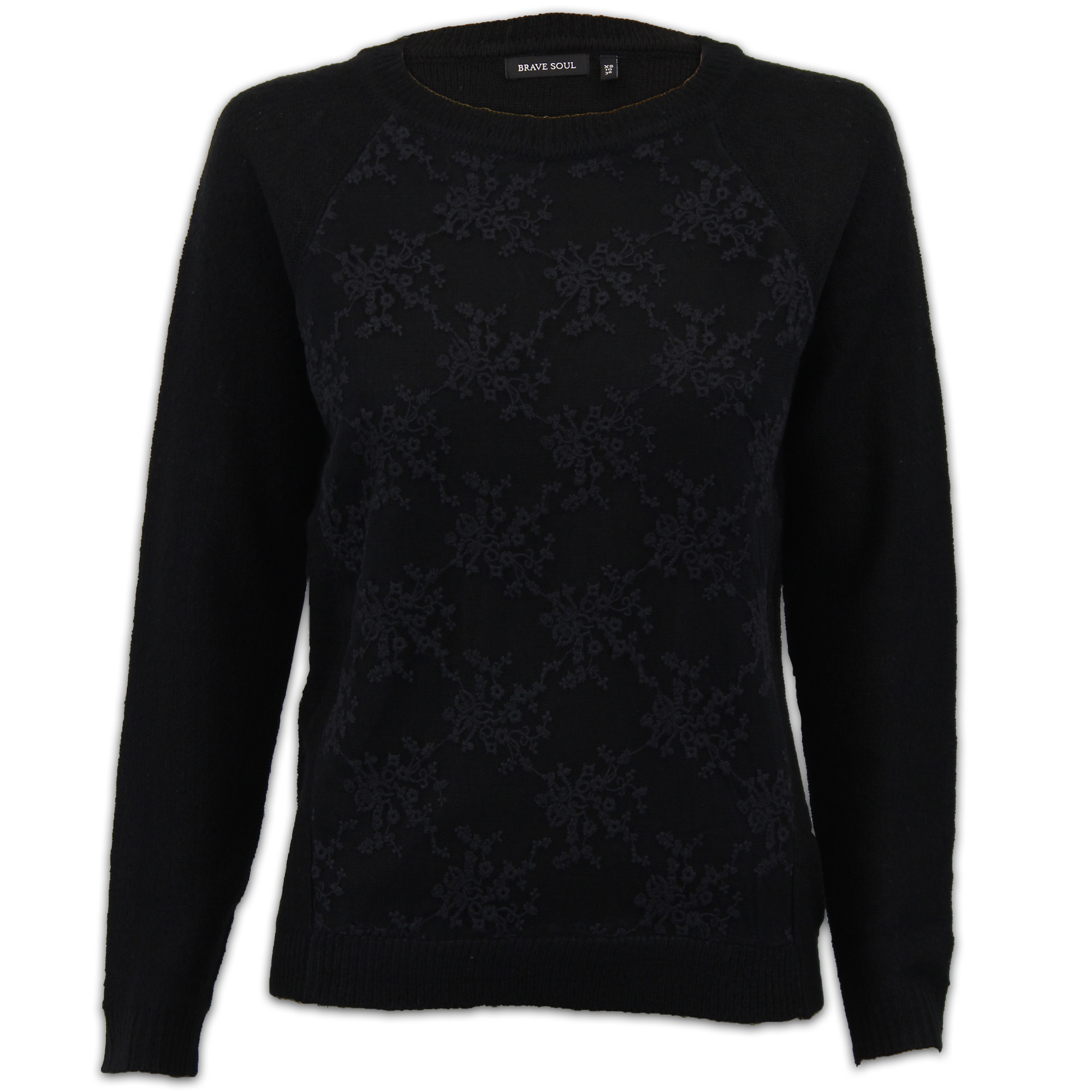 b5a21ad734d Details about Ladies Jumpers Brave Soul Womens Knit Mesh Lace Top Crew Neck  Winter Party New
