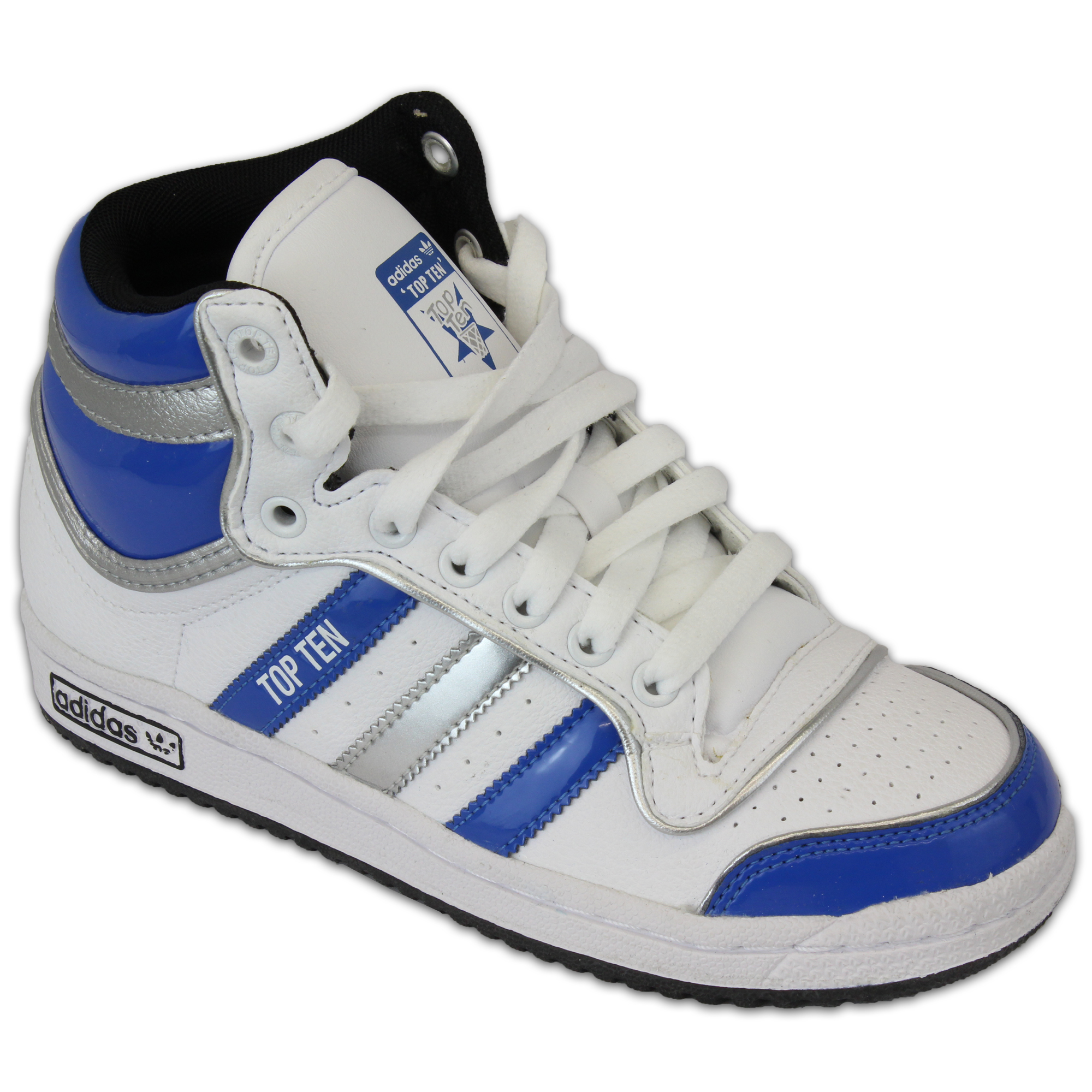 nuovo concetto 2492f 2048d Details about Kids Adidas Top Ten Leather Skate Sports Shoes Ankle High  Low- show original title