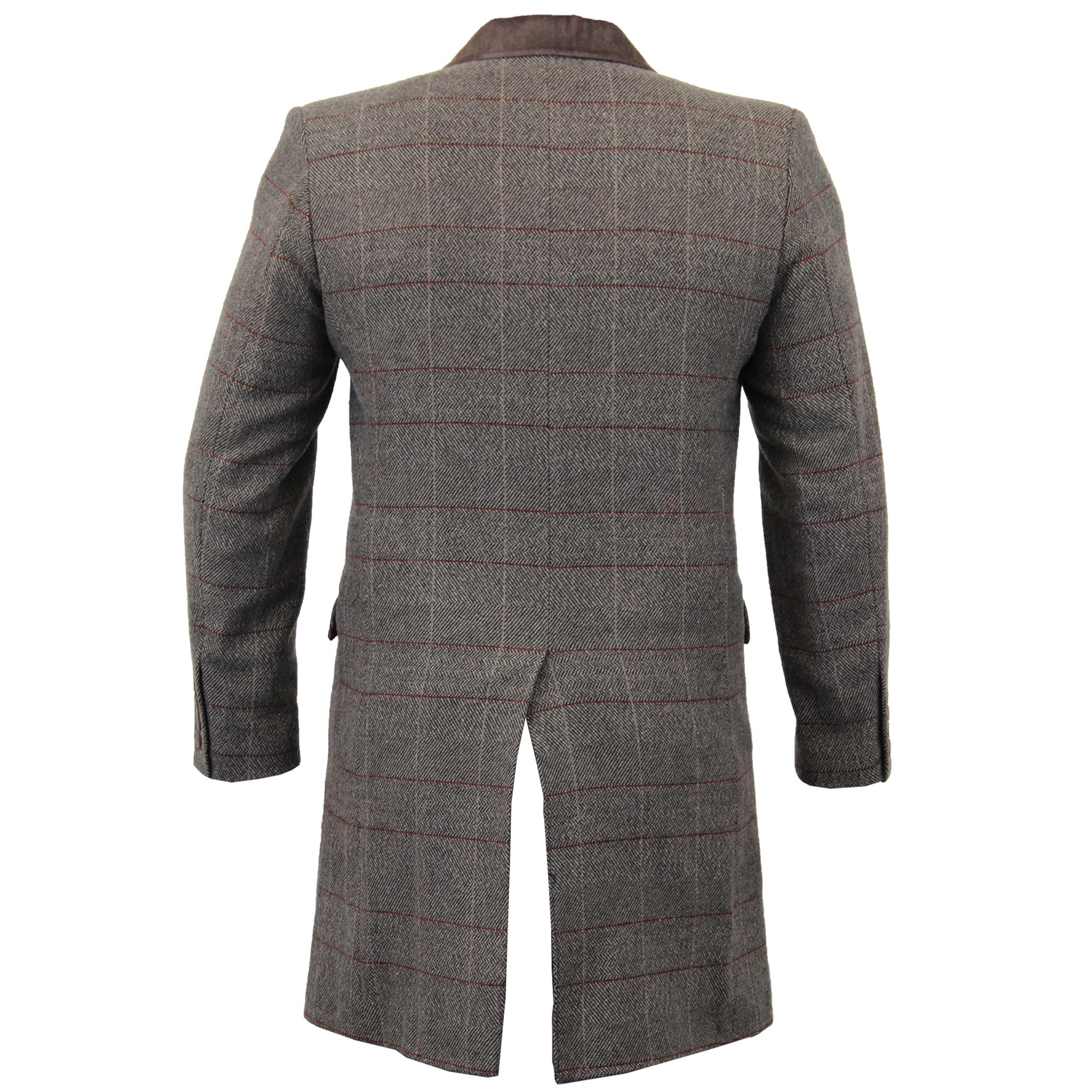 Mens-Wool-Mix-Trench-Coat-Checked-Jacket-Herringbone-Tweed-Overcoat-Lined-Winter thumbnail 7