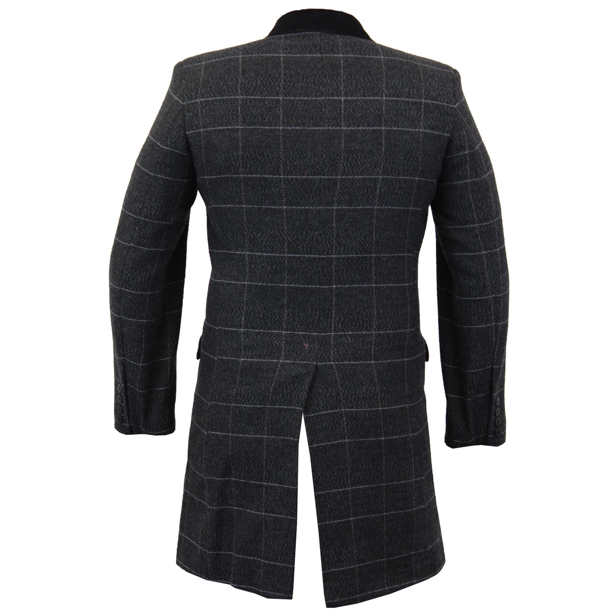 Mens-Wool-Mix-Trench-Coat-Checked-Jacket-Herringbone-Tweed-Overcoat-Lined-Winter thumbnail 3