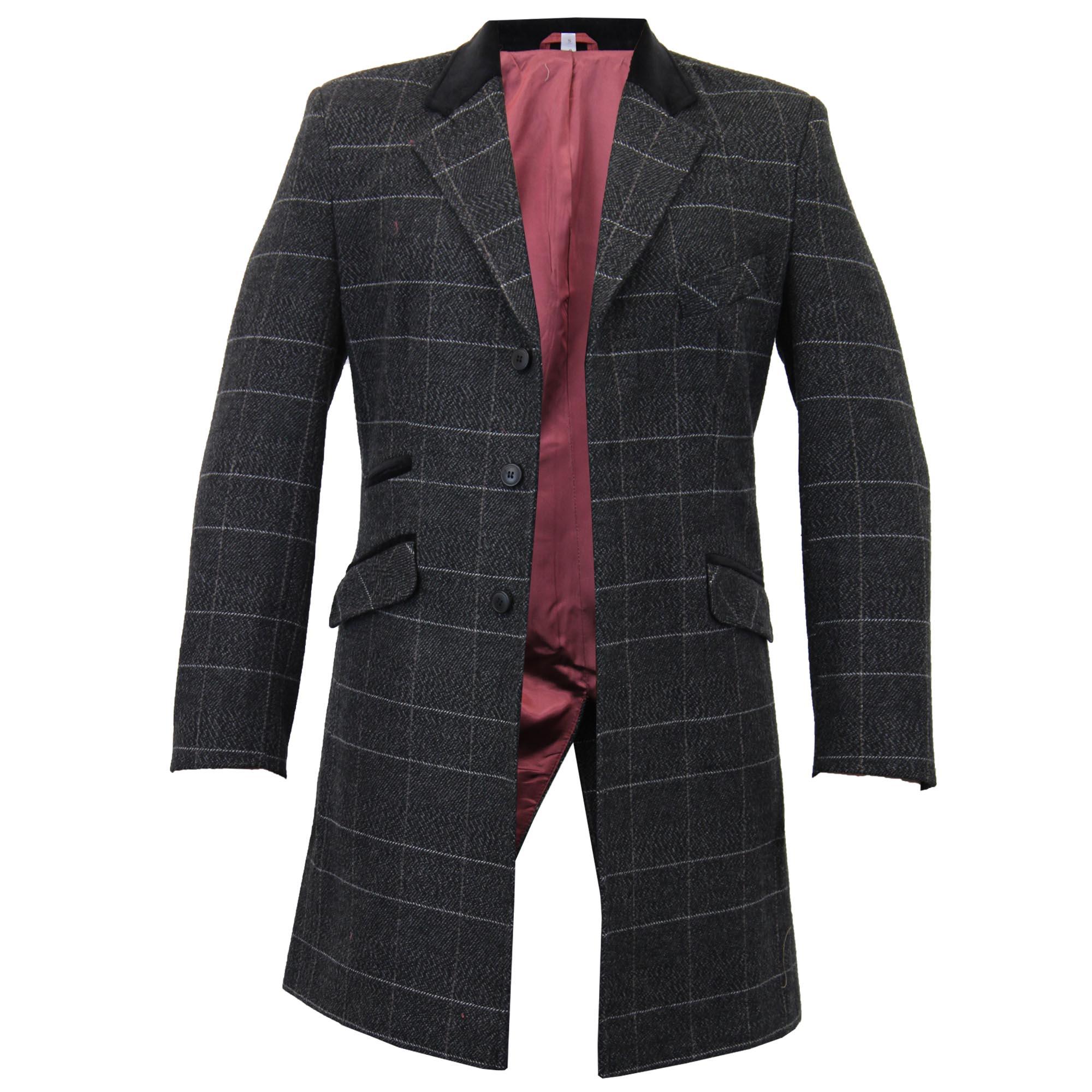 Mens-Wool-Mix-Trench-Coat-Checked-Jacket-Herringbone-Tweed-Overcoat-Lined-Winter thumbnail 4