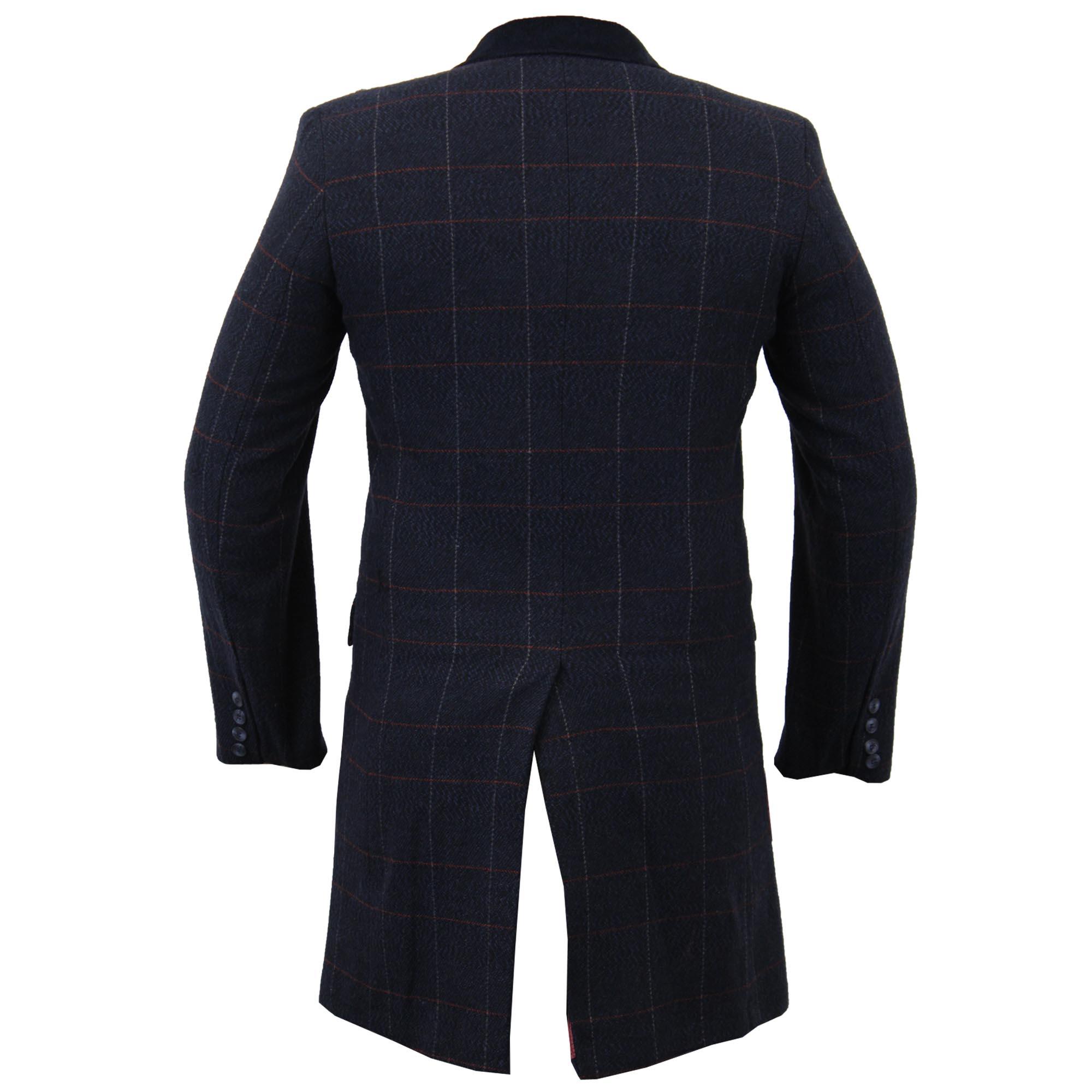 Mens-Wool-Mix-Trench-Coat-Checked-Jacket-Herringbone-Tweed-Overcoat-Lined-Winter thumbnail 11
