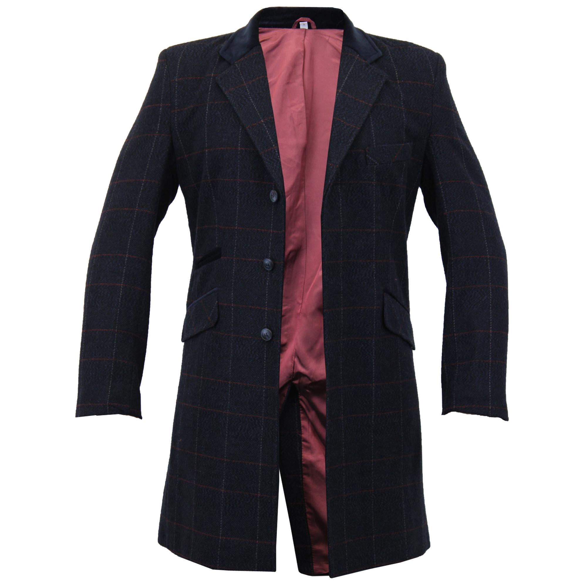 Mens-Wool-Mix-Trench-Coat-Checked-Jacket-Herringbone-Tweed-Overcoat-Lined-Winter thumbnail 12