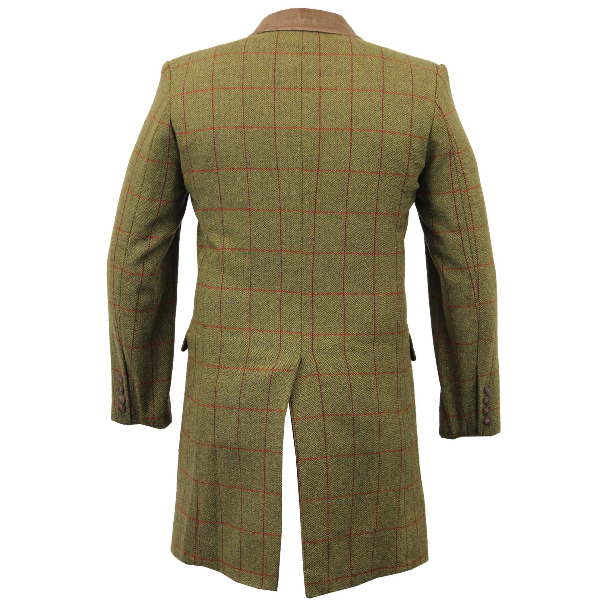 Mens-Wool-Mix-Trench-Coat-Checked-Jacket-Herringbone-Tweed-Overcoat-Lined-Winter thumbnail 15