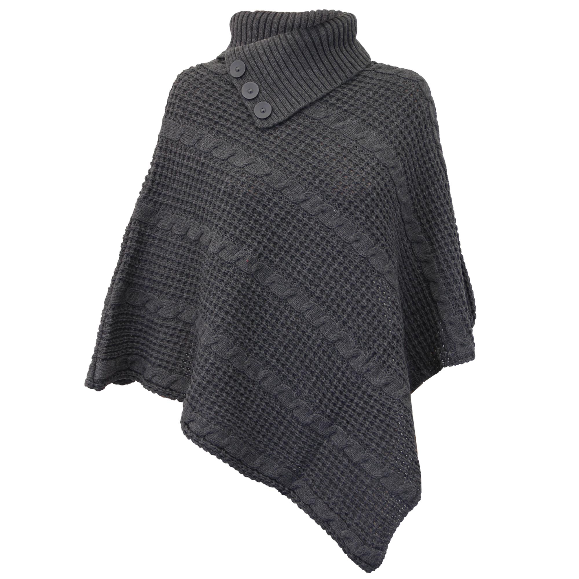 damen poncho pulli damen gestrickt umhang pullover top. Black Bedroom Furniture Sets. Home Design Ideas