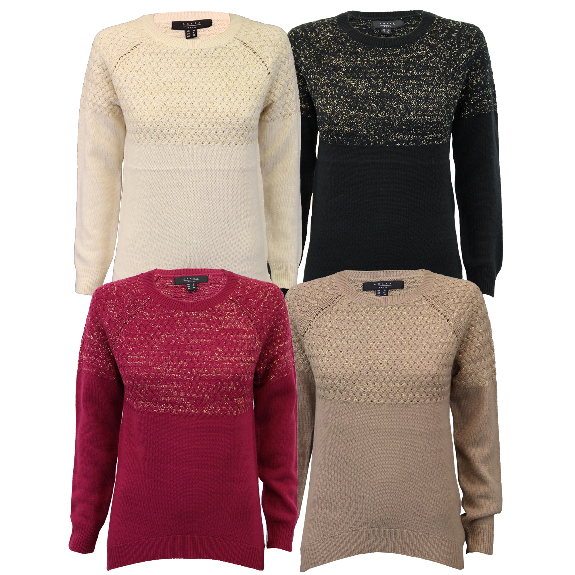 Ladies Jumpers Womens Cable Knitted Top Pullover Sweater Carnation ... 884ff11fe