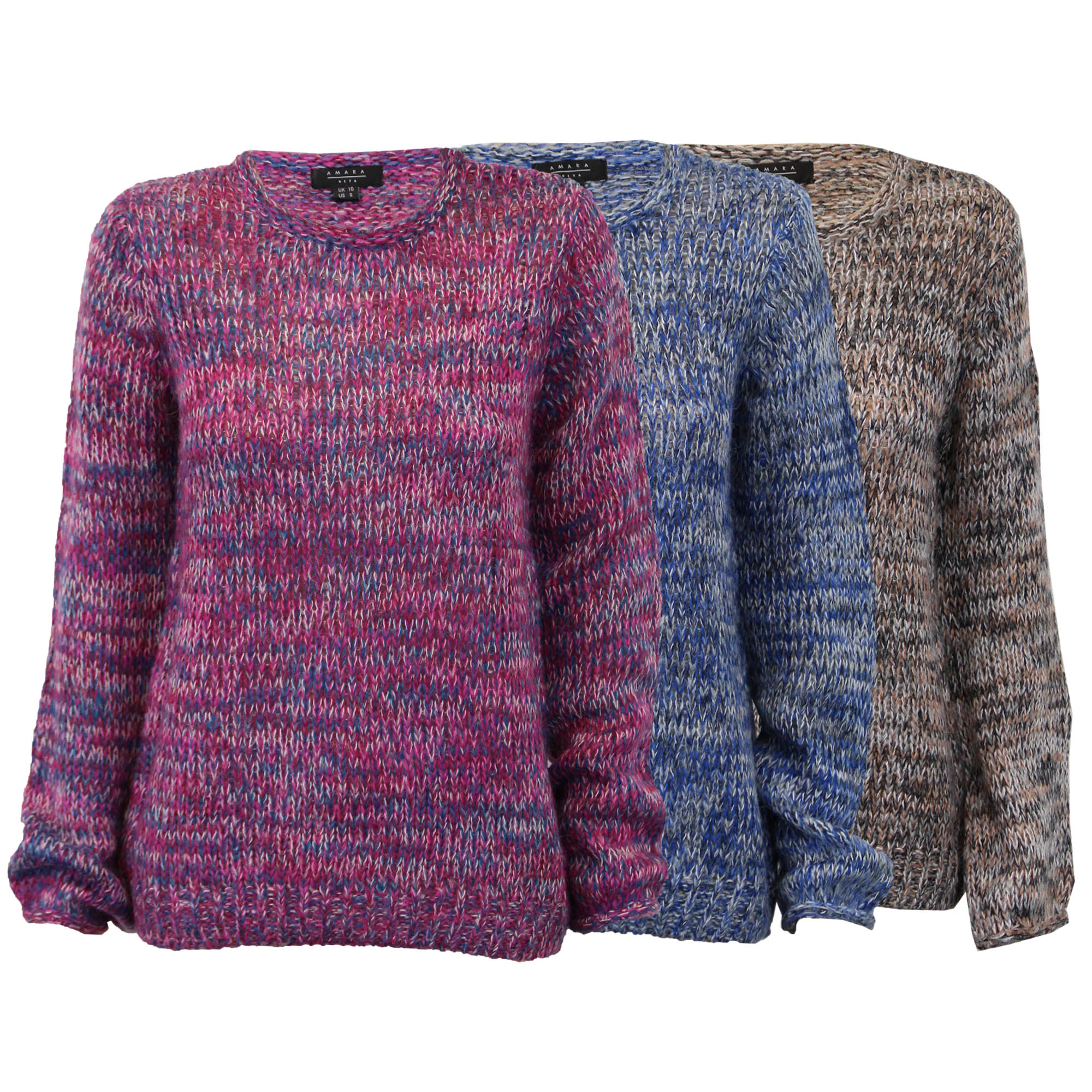 Ladies Jumpers Womens Knitted Top Pullover Sweater Casual Winter ... b8a8ebbb6