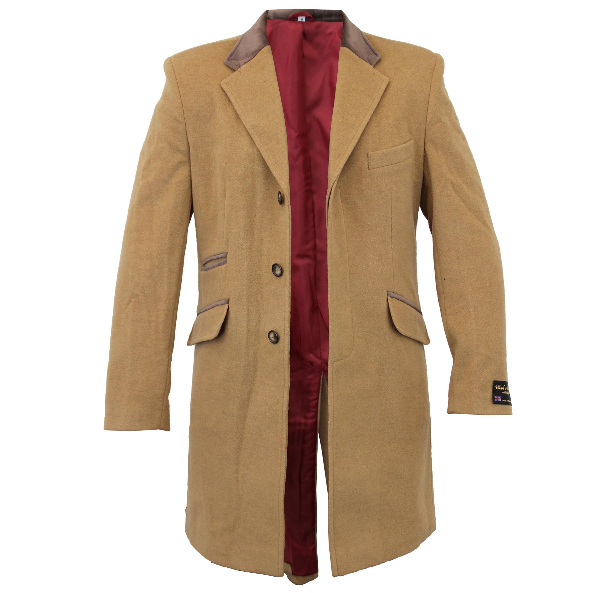 Para-Hombre-Abrigo-Chaqueta-de-lana-cashmere-Casual-abrigos-Abrigo-Trench-Forro-De-Invierno miniatura 10