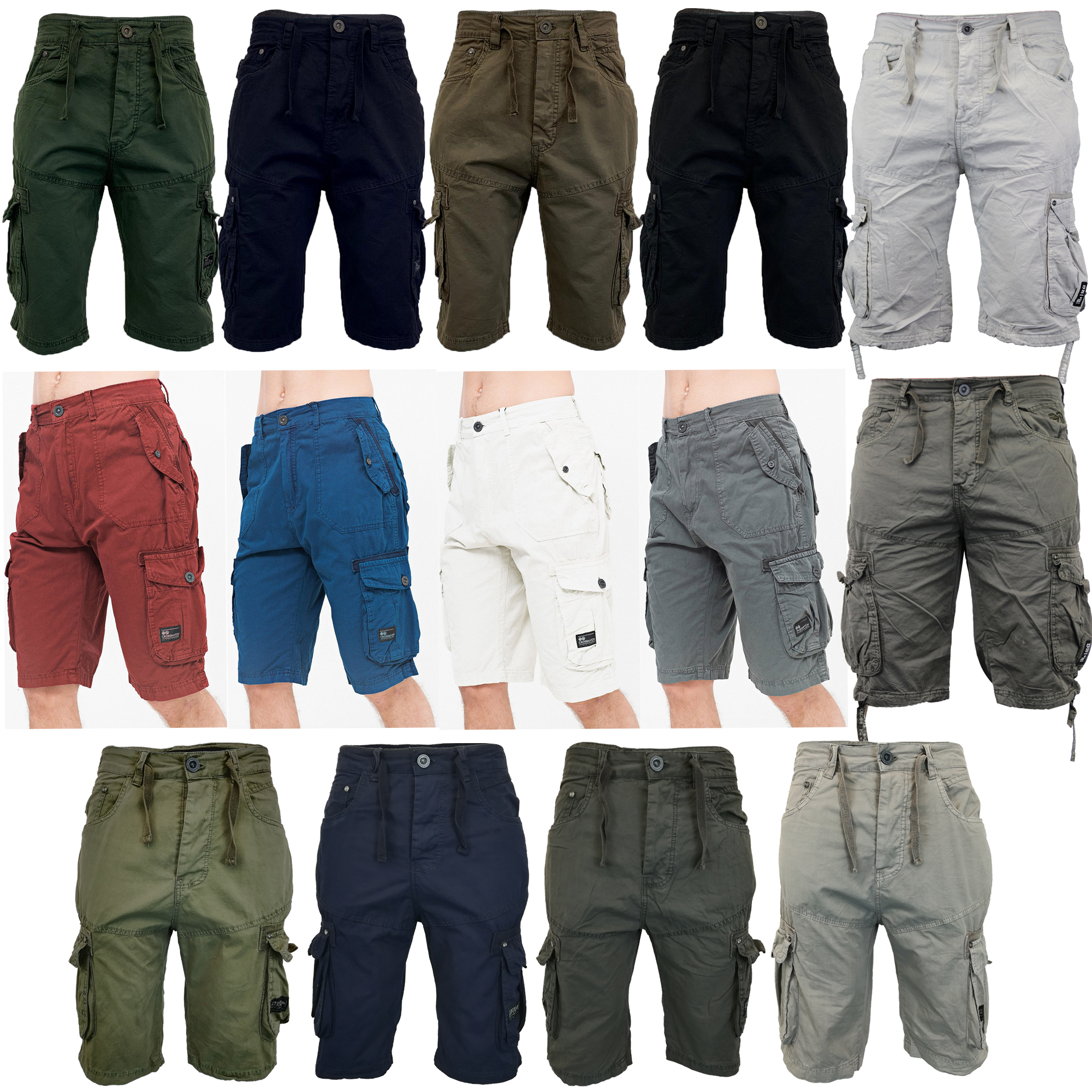 Mens Cargo Shorts Sports Summer Cotton Combat Chino Pants Casual Designer New