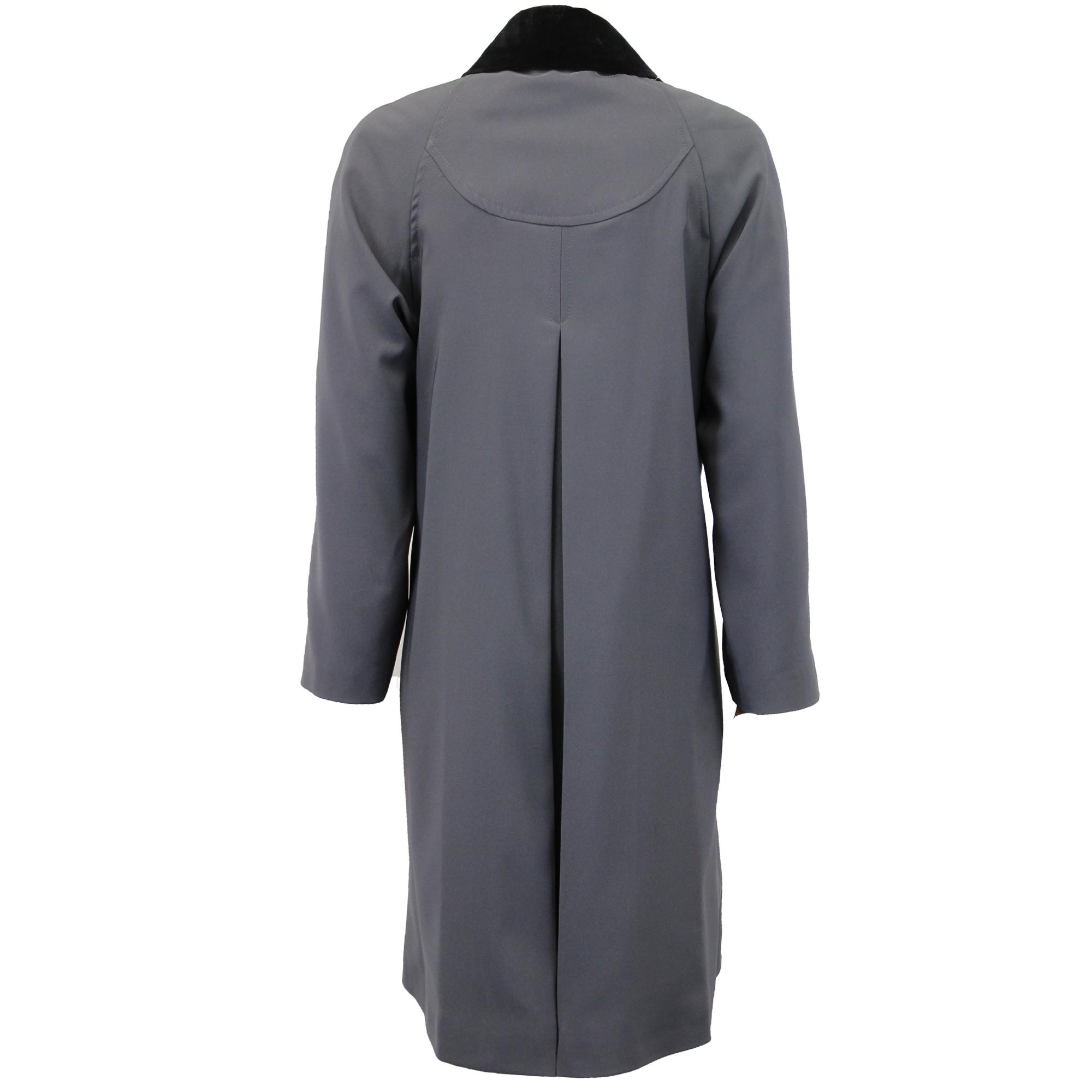ed9f2609f4445a Cappotto Donna Giacca da Trench Colletto di Velluto lungo Casual ...