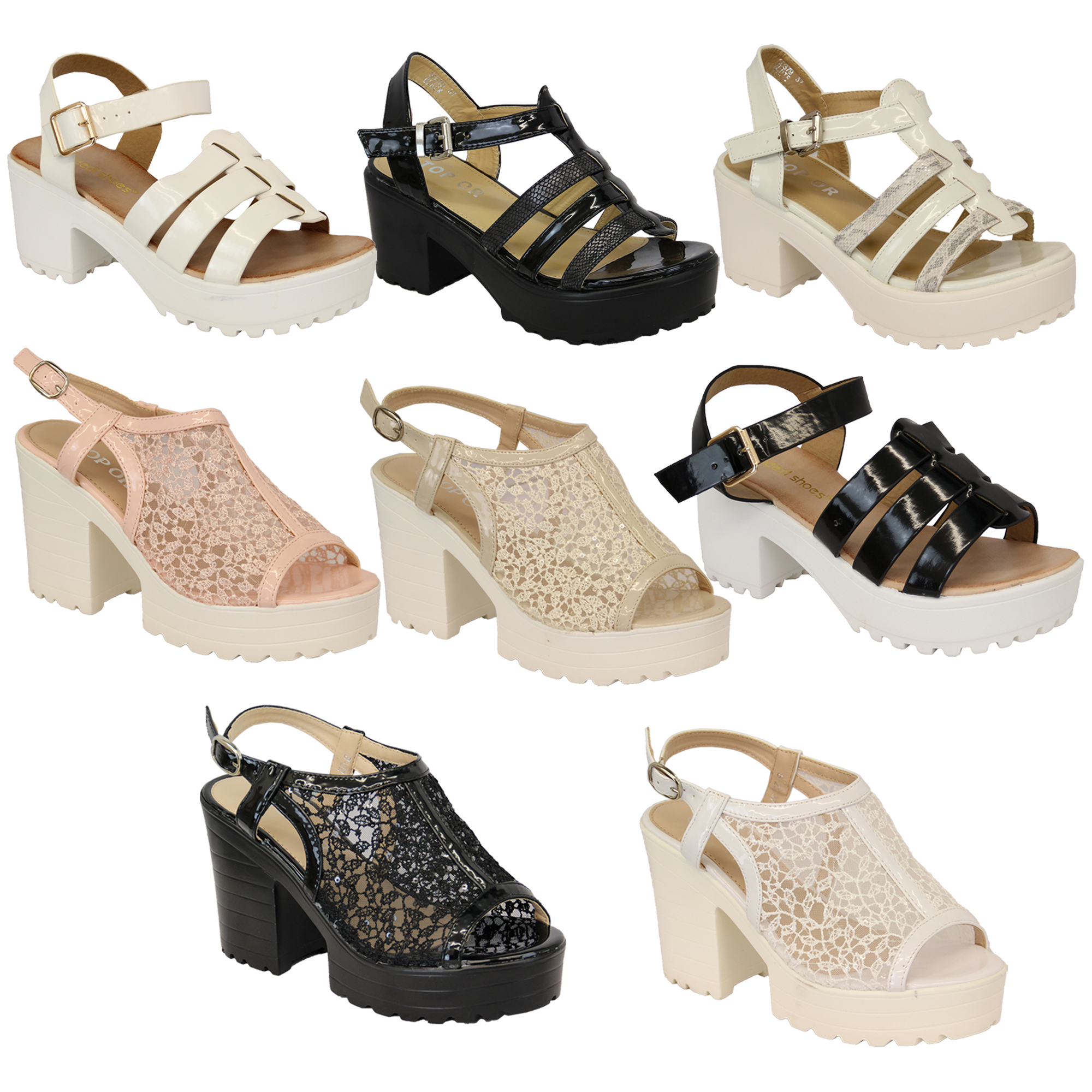Ladies-Sandals-Womens-Cleated-Chunky-Block-Heel-Mesh-Platforms-Strap-Patent-New thumbnail 5