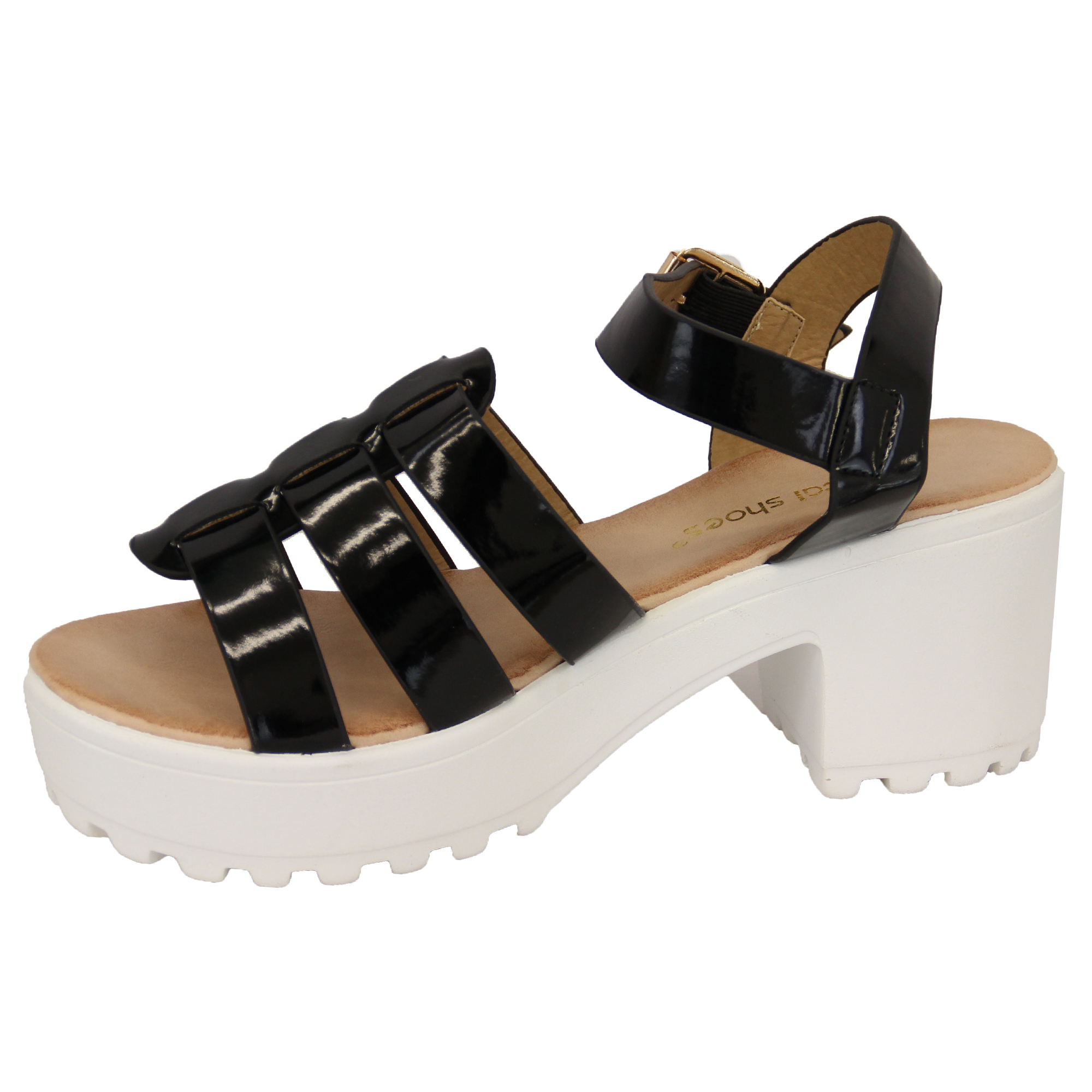 Ladies-Sandals-Womens-Cleated-Chunky-Block-Heel-Mesh-Platforms-Strap-Patent-New thumbnail 3