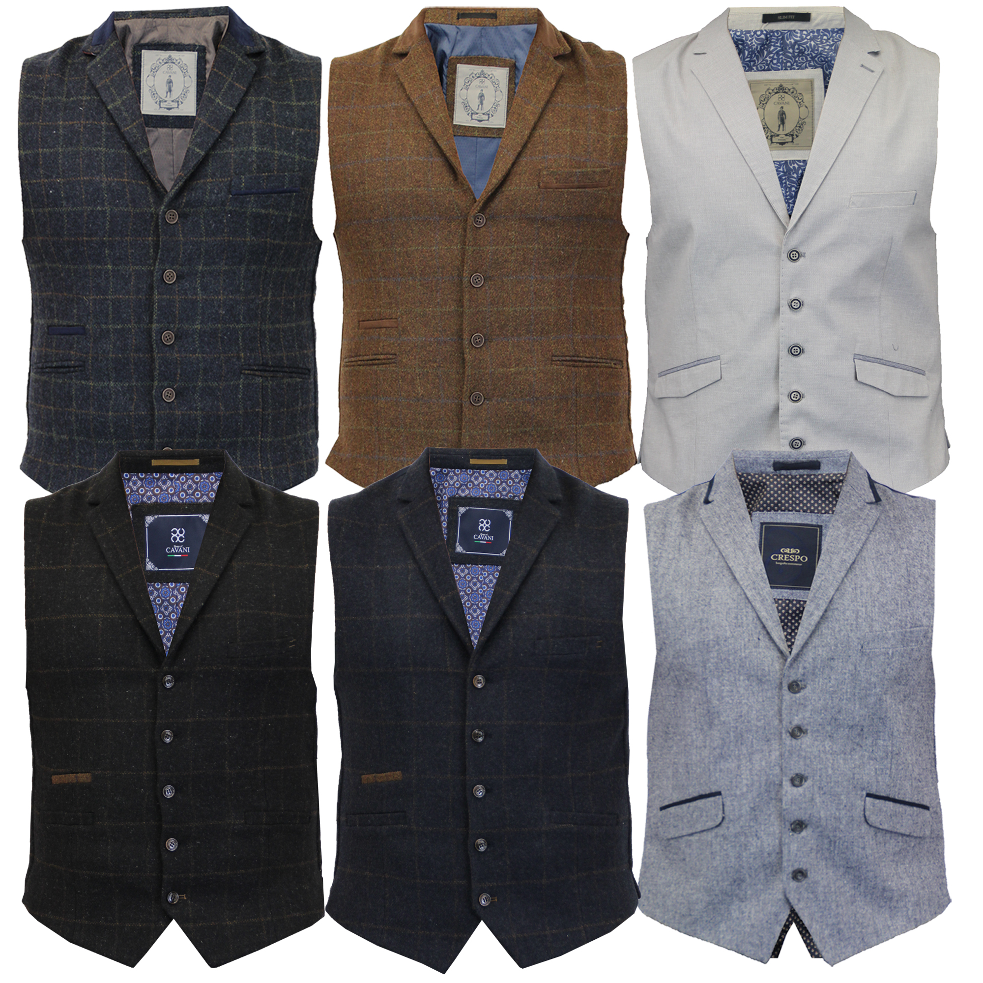 f5106917f0 Details about Mens Waistcoat Wool Mix Cord Cavani Formal Vest Herringbone  Tweed Check Party