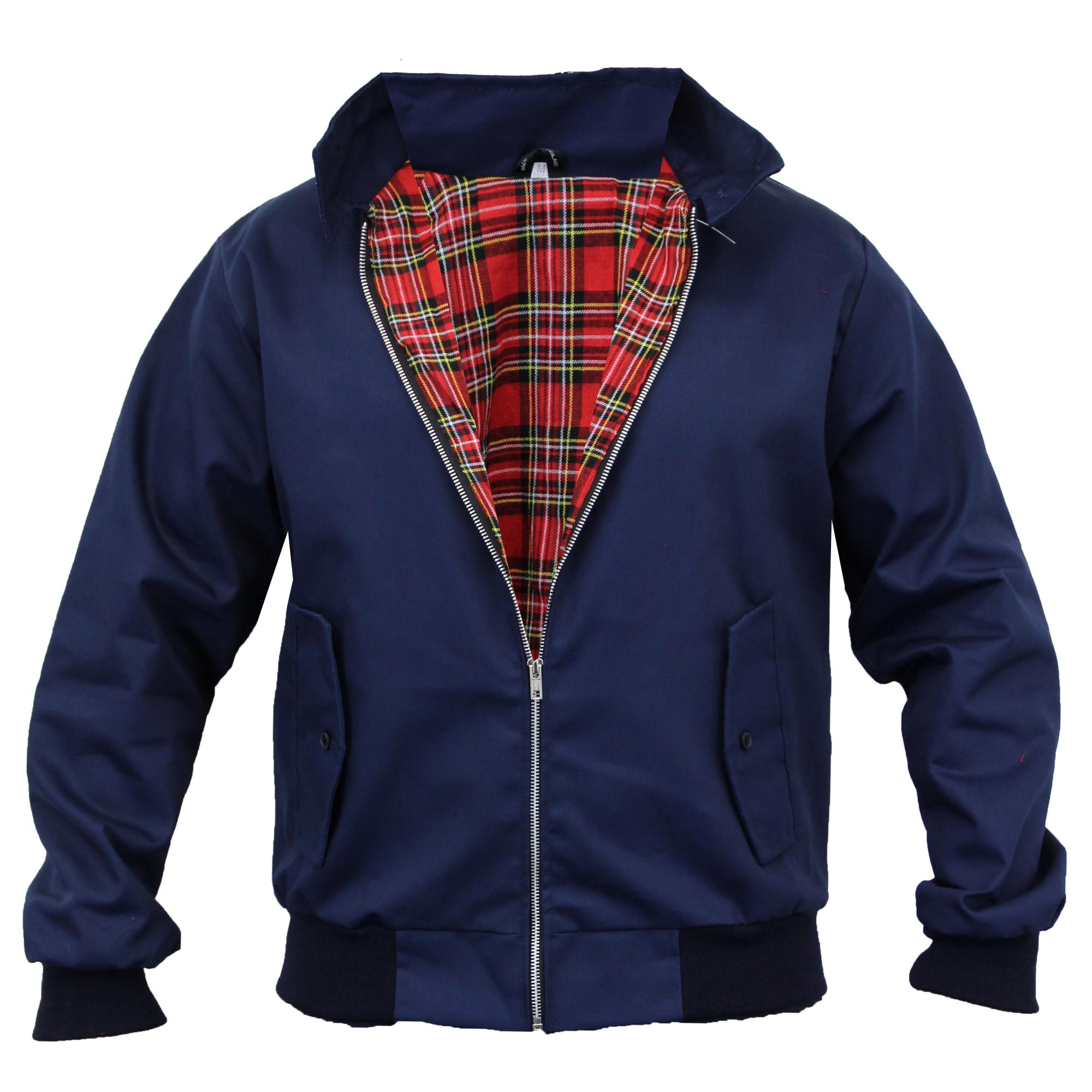 Mens Harrington Jacket Coat Retro Vintage Bomber Tartan Check Lined ...