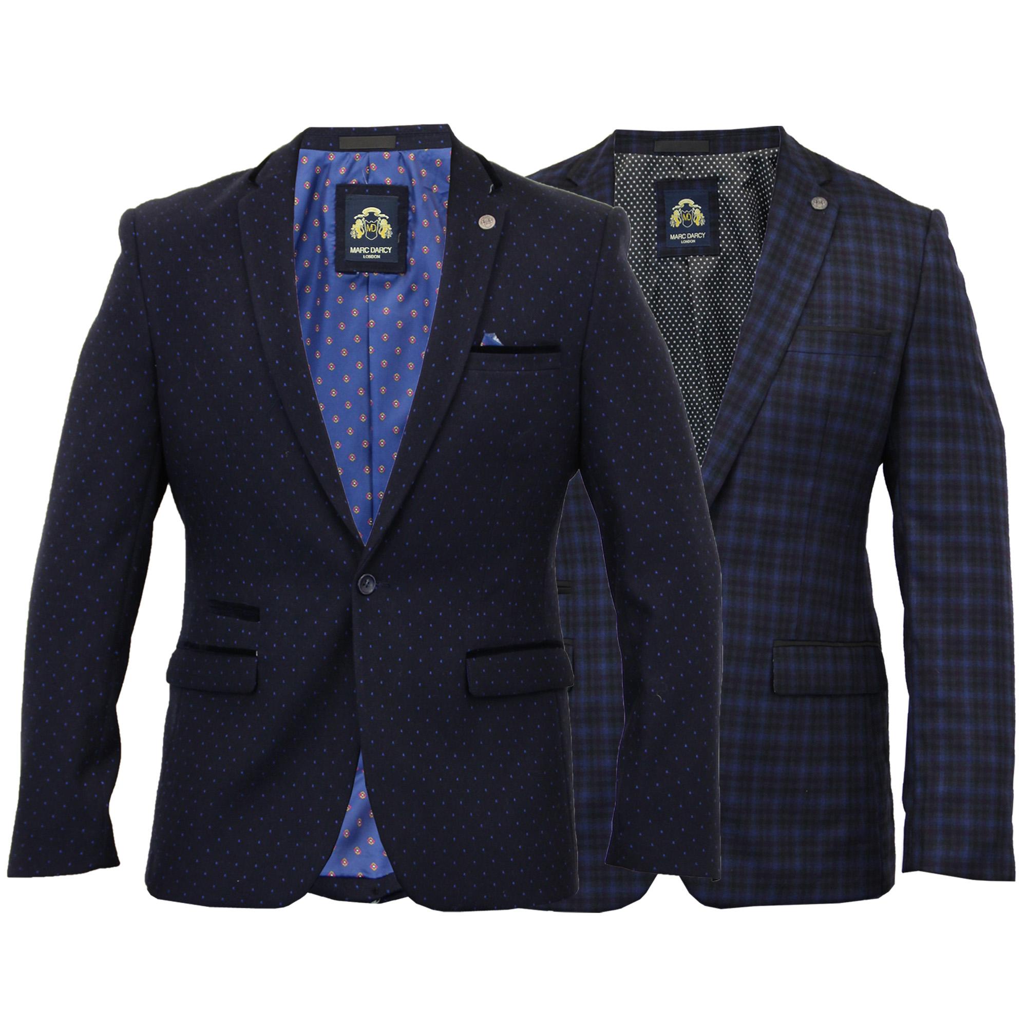 Mens-Blazer-Marc-Darcy-Formal-Coat-Tartan-Check-Dinner-Suit-Jacket-Designer-New thumbnail 3