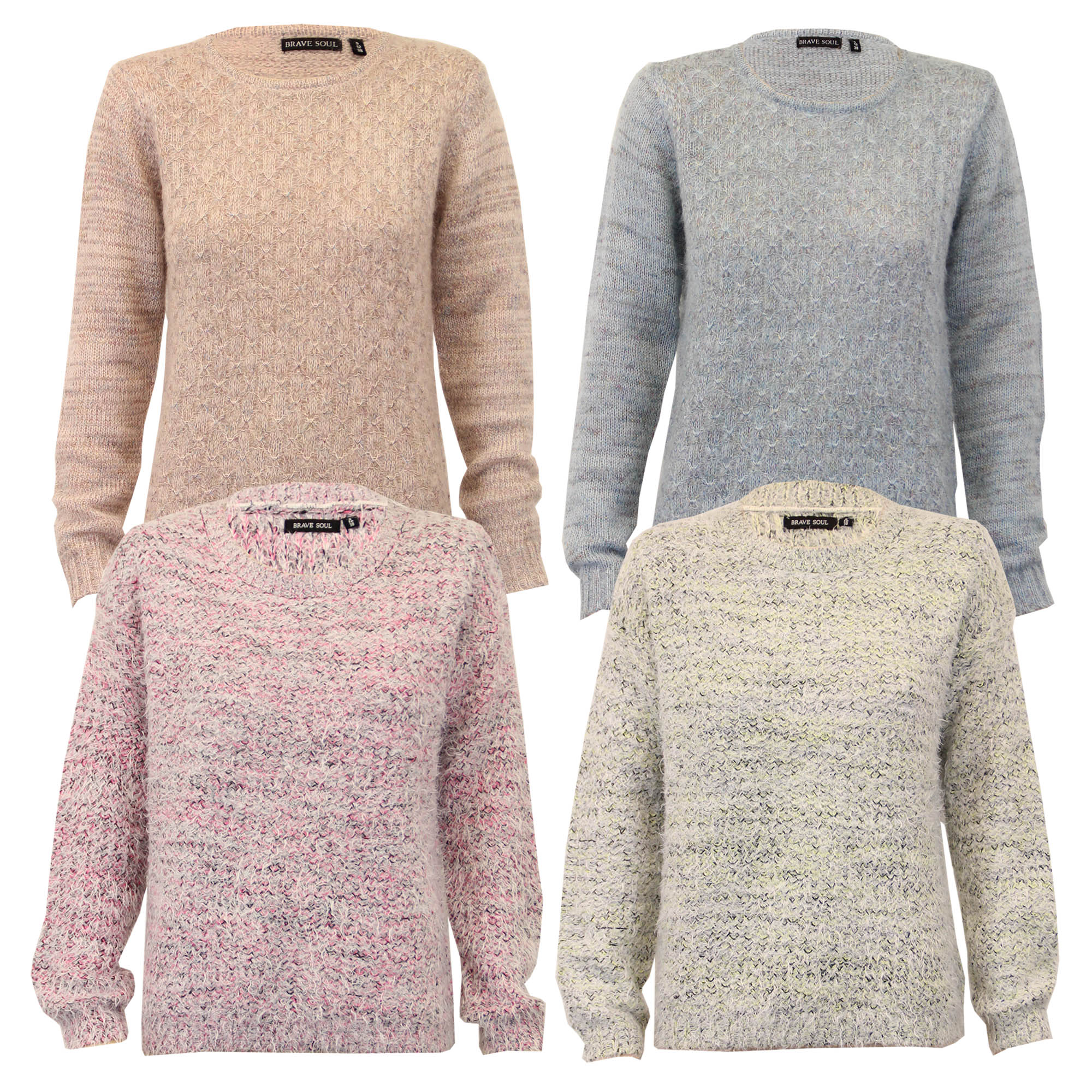 Ladies Mohair Jumper Brave Soul Womens Knitted Sweater Crew Neck Top ... 7600c3a37