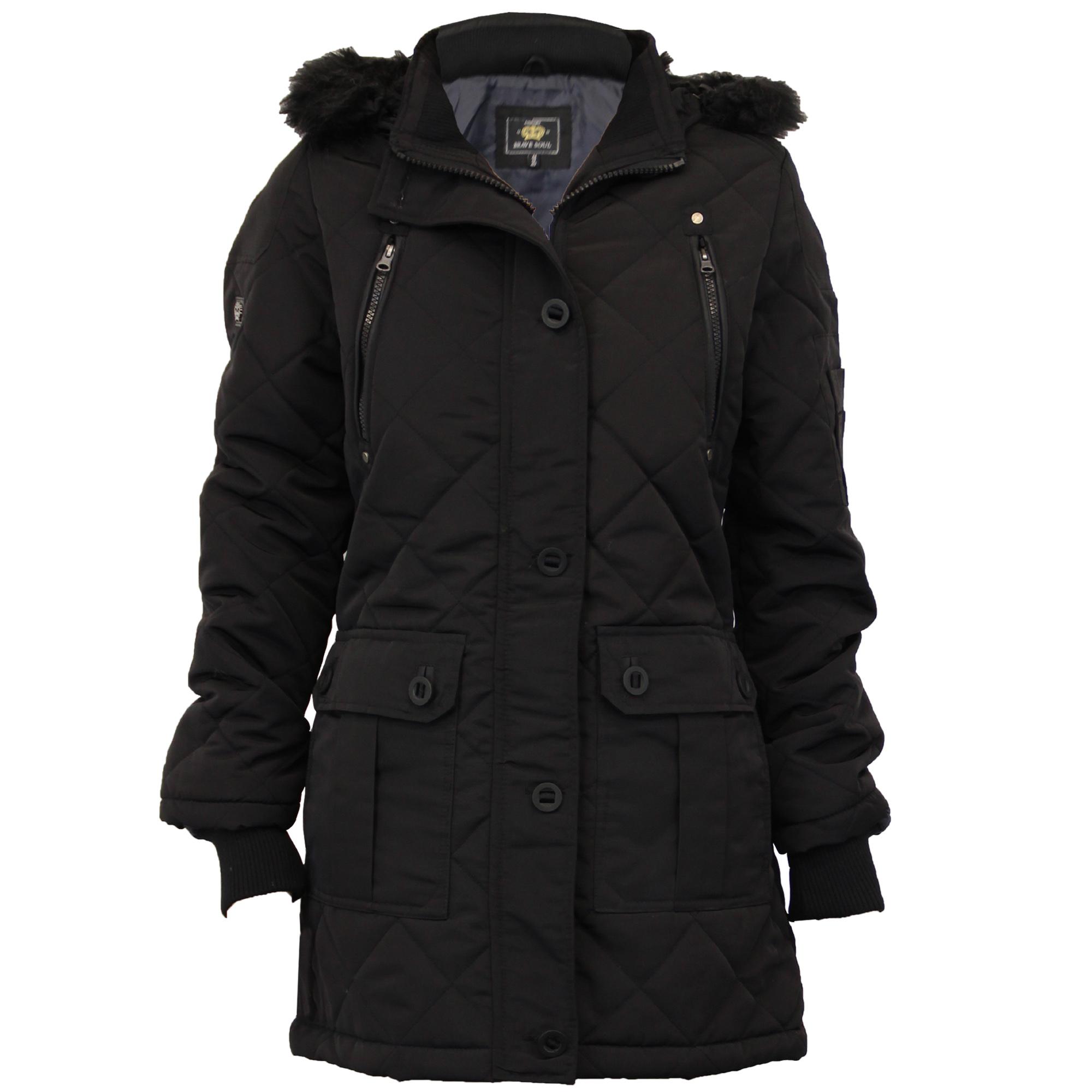 Ladies Parka Jacket Brave Soul Womens Coat Padded Hooded ...
