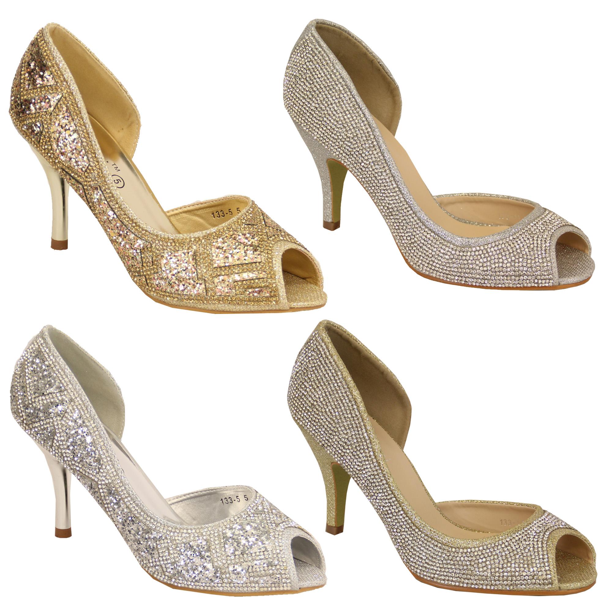 Glitter Peep Toe Mid Heel Sandals Shoes