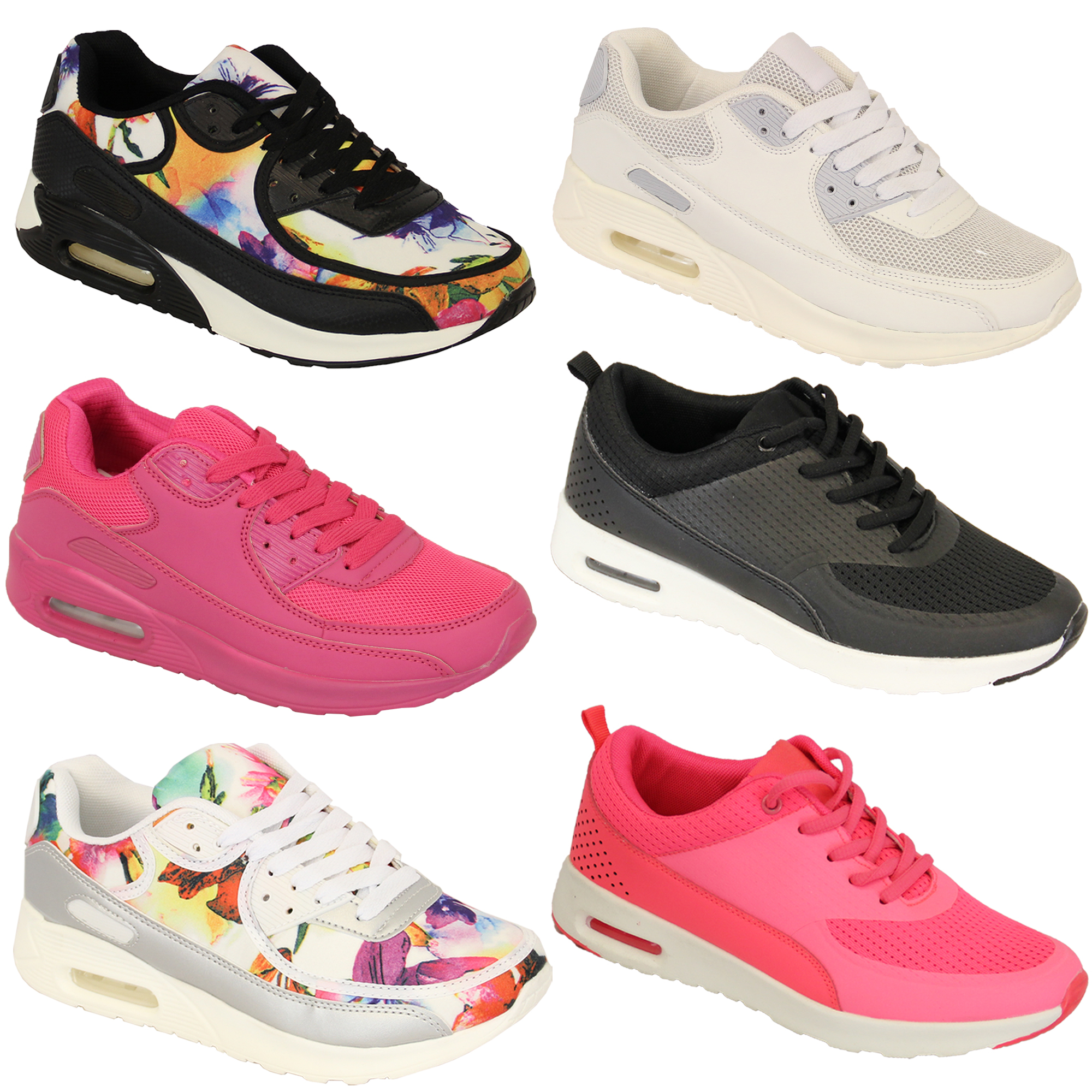 Ladies Trainers Womens Shoes Jogging Lace Up Running Sports Gym Mesh ... ef4184bf50